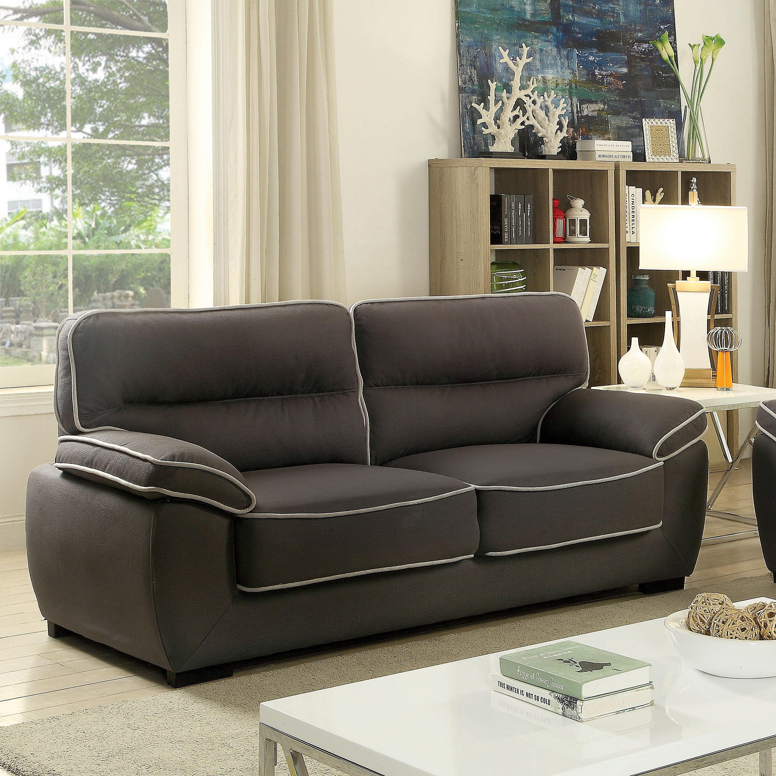 Shop Furniture Of America Kelvin Contemporary Faux Nubuck Fabric Graphite  Sofa   Free Shipping Today   Overstock.com   16497996