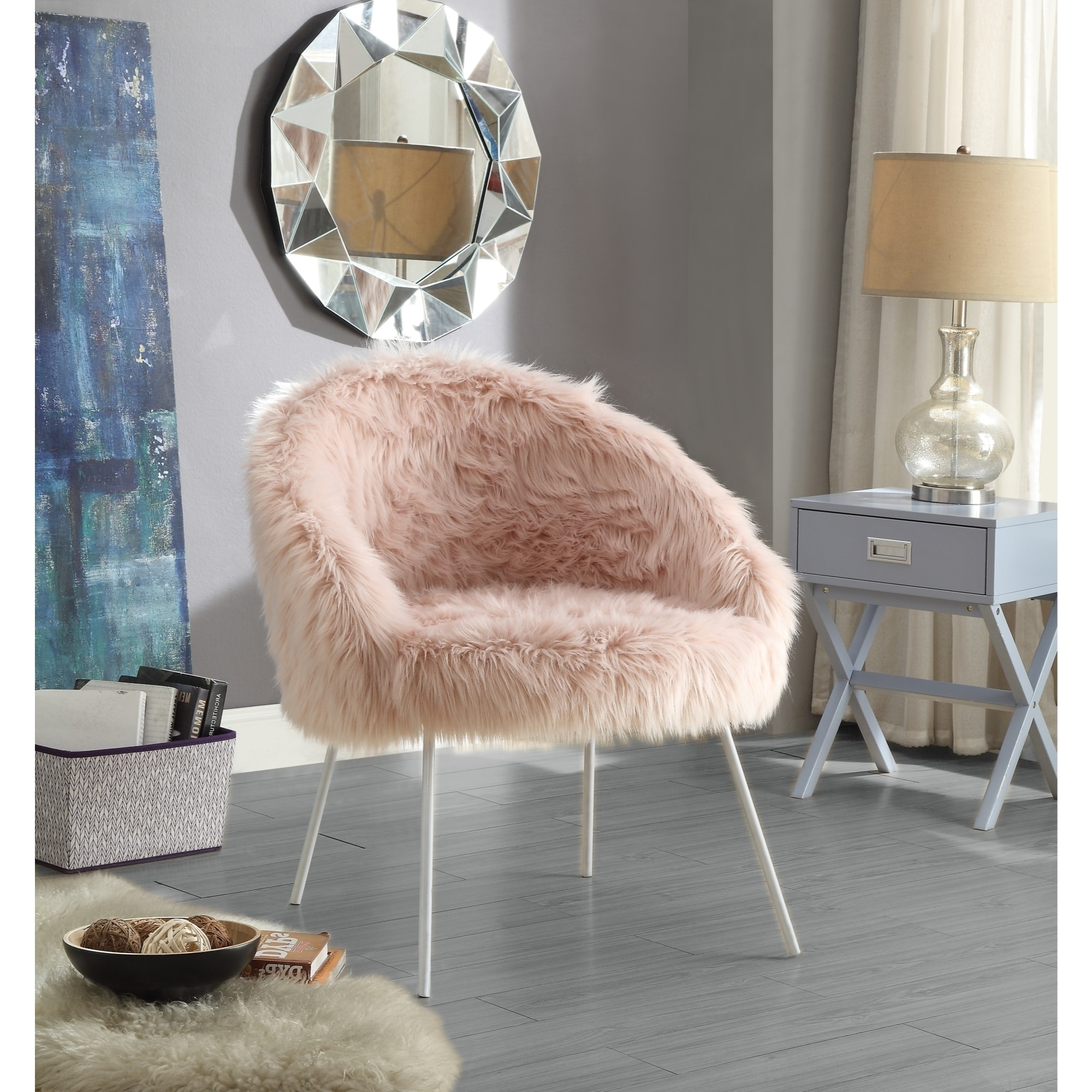Shop Belle White Faux Fur Accent Chair With Metal Legs Overstock 16498053
