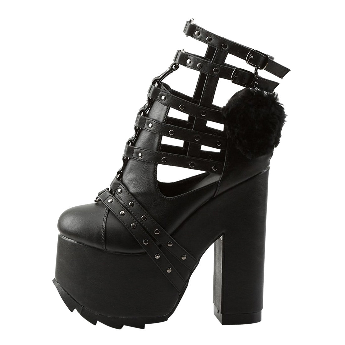 6a320b23fbc Shop Demonia Cramps-05 Women s Platform Buckle Straps Block High Heel Caged  Sandals - Free Shipping Today - Overstock - 16502335