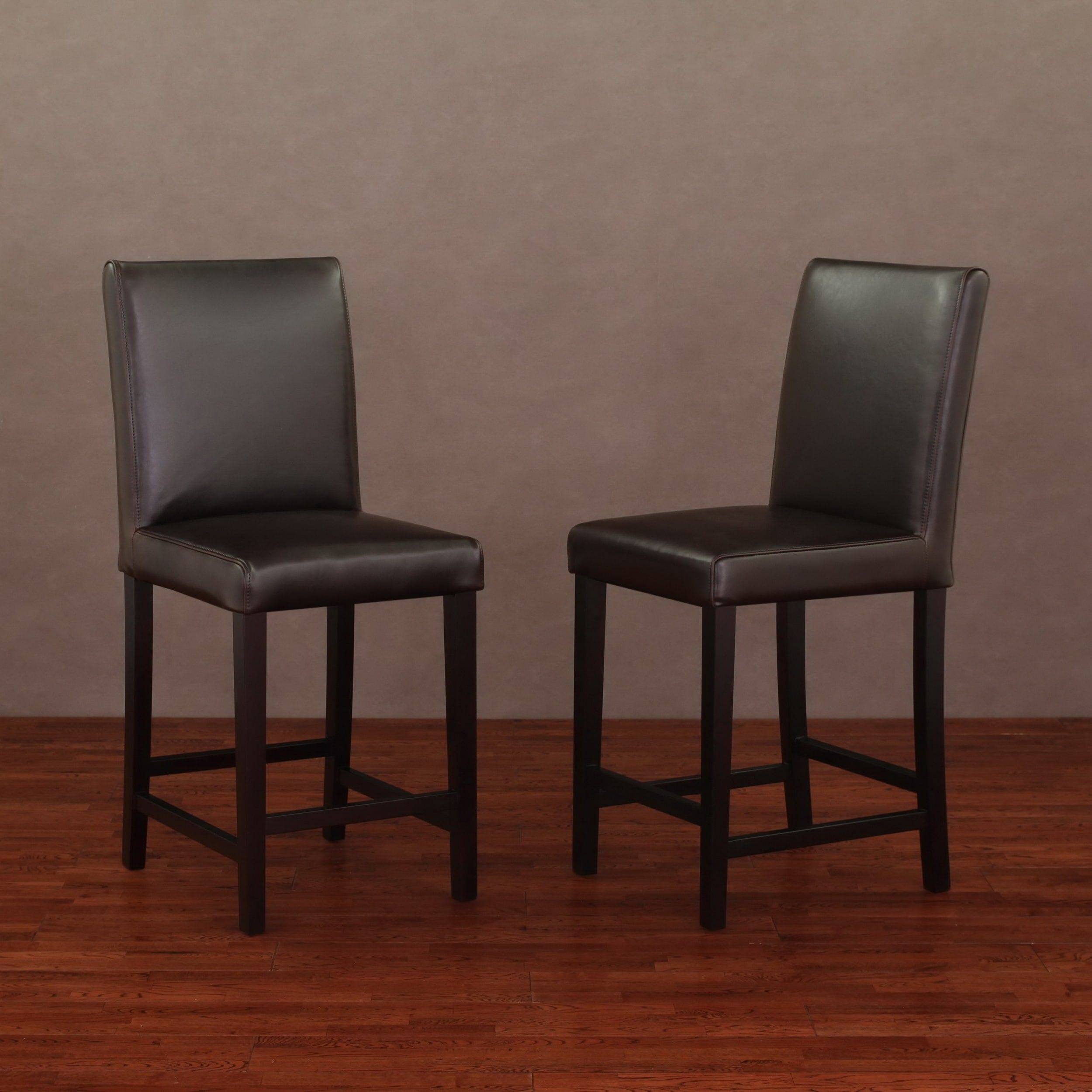 Shop Andre 24 Inch Dark Brown Leather Counter Stools Set Of 2