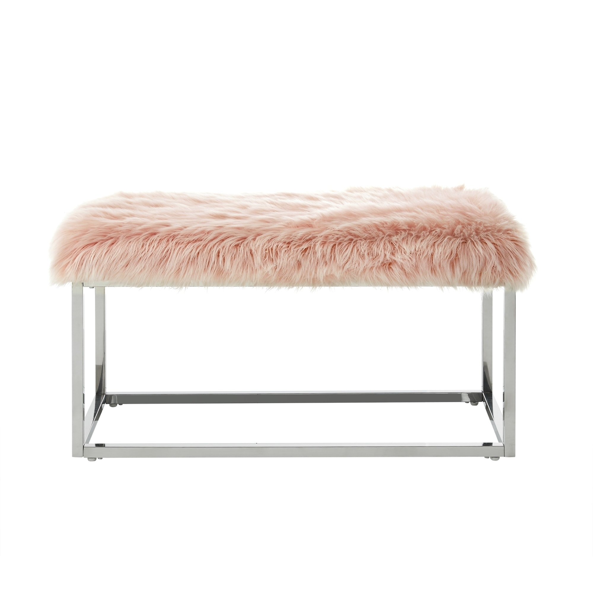 Degas Faux Fur And Metal Frame Ottoman Bench  Free