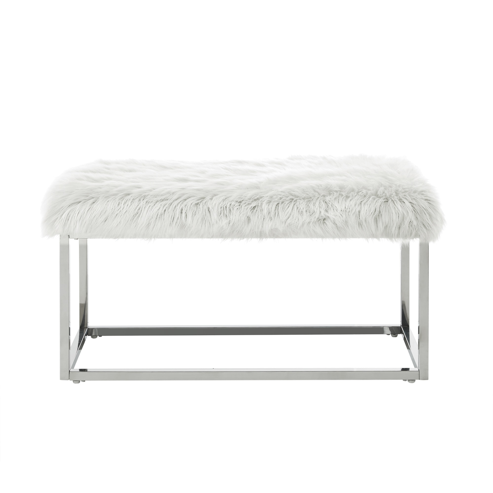 Shop Degas Faux Fur Ottoman Bench with Metal Frame - On Sale - Free ...