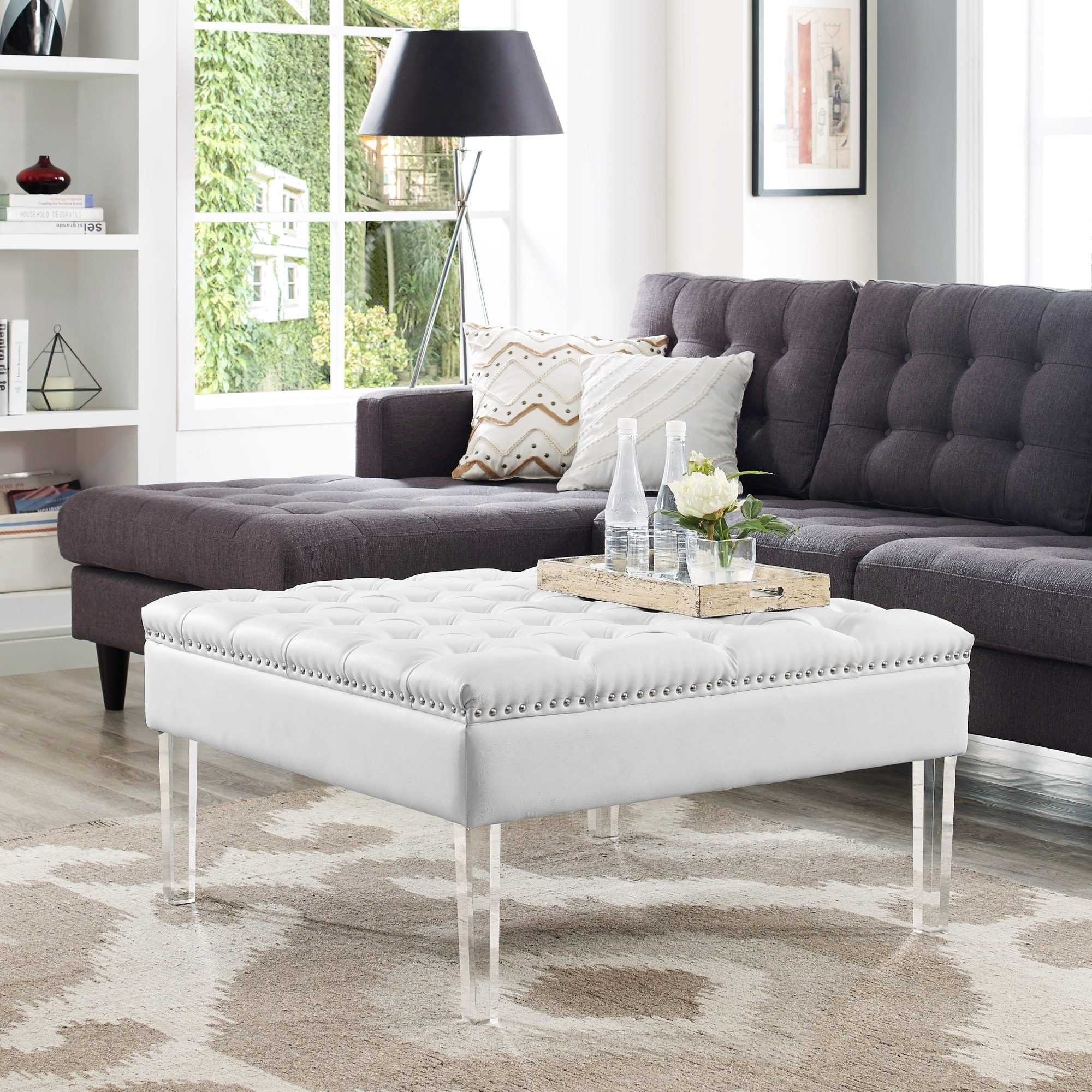 Vivian Leather Oversized Button-tufted Ottoman Coffee Table - Free ...