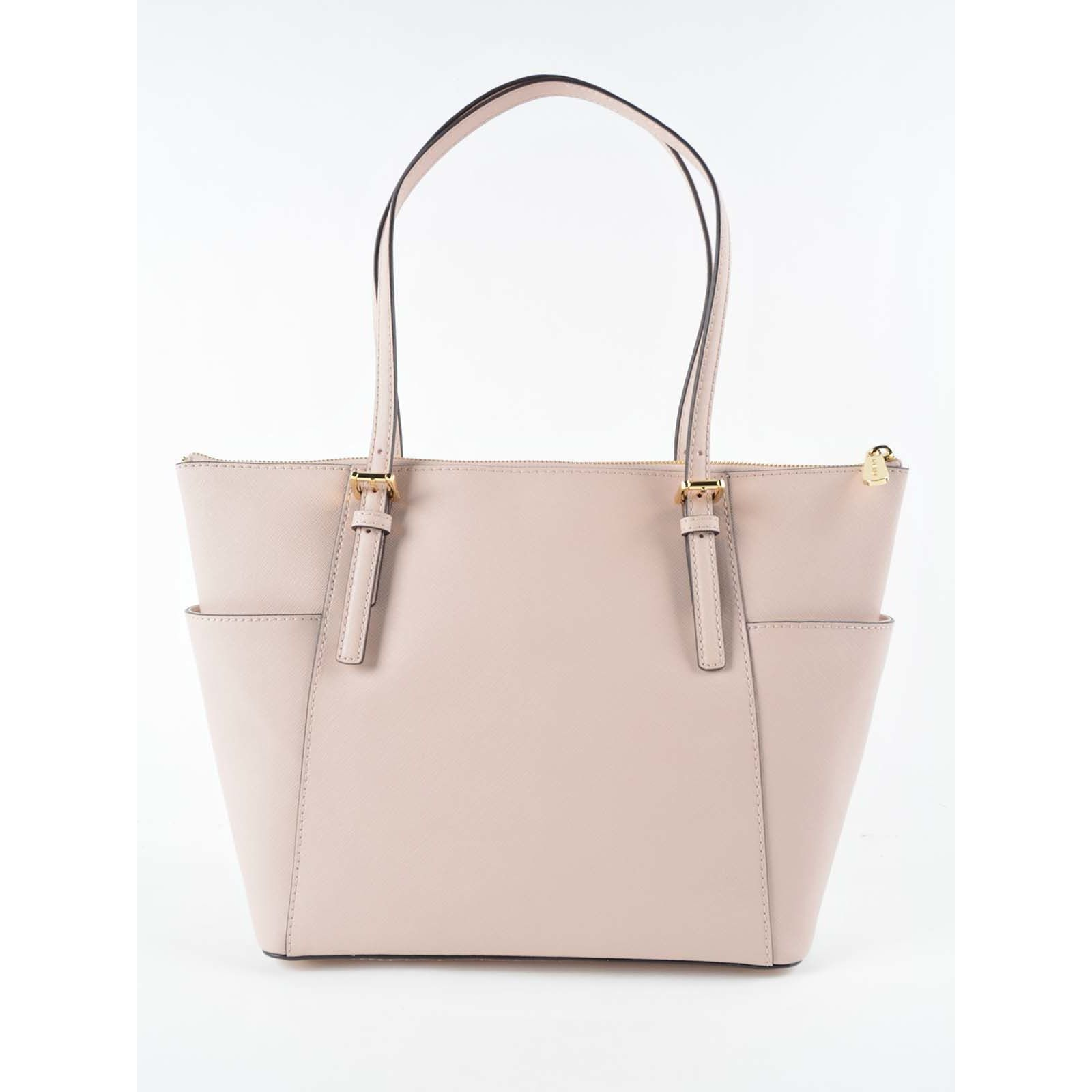 f48ff00934f5 Shop Michael Kors Jet Set East West Pink Leather Large Top Zip Tote ...