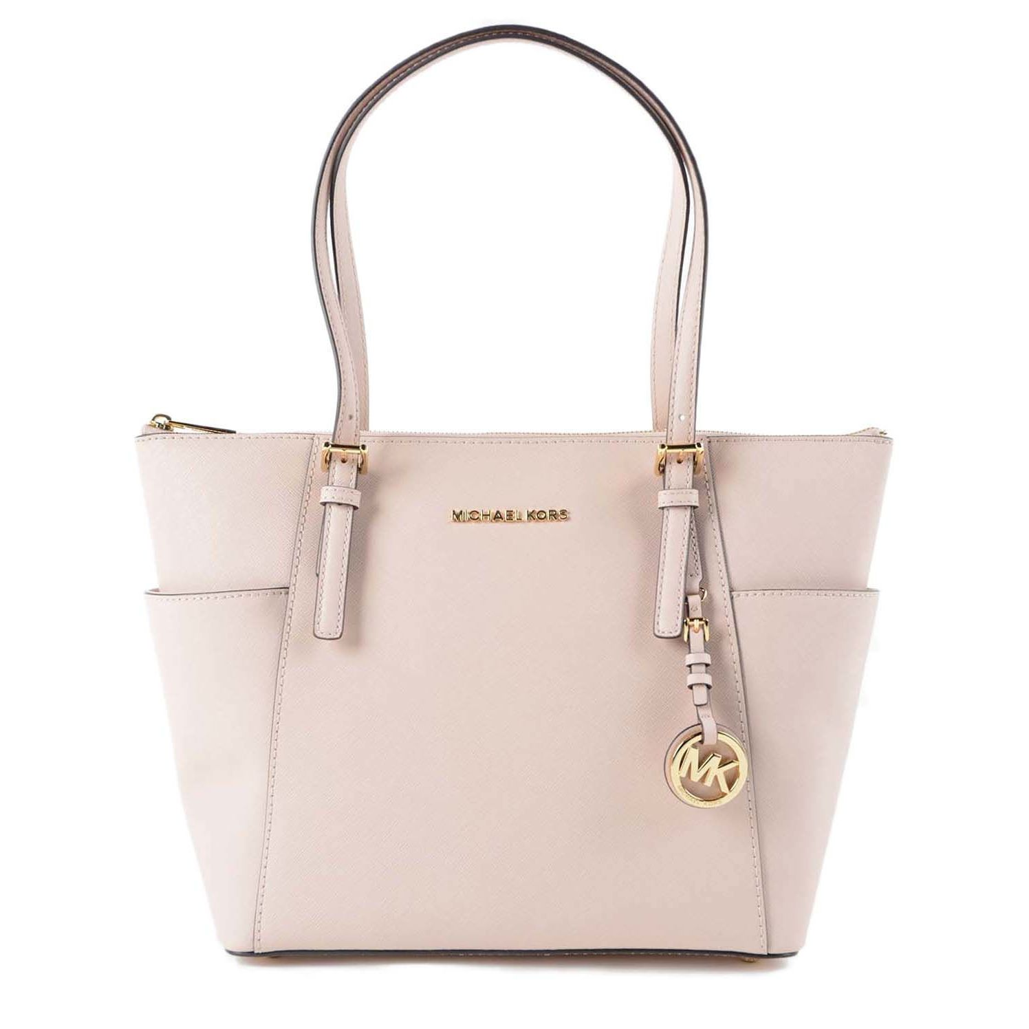 fb20734c767f Shop Michael Kors Jet Set East West Pink Leather Large Top Zip Tote ...