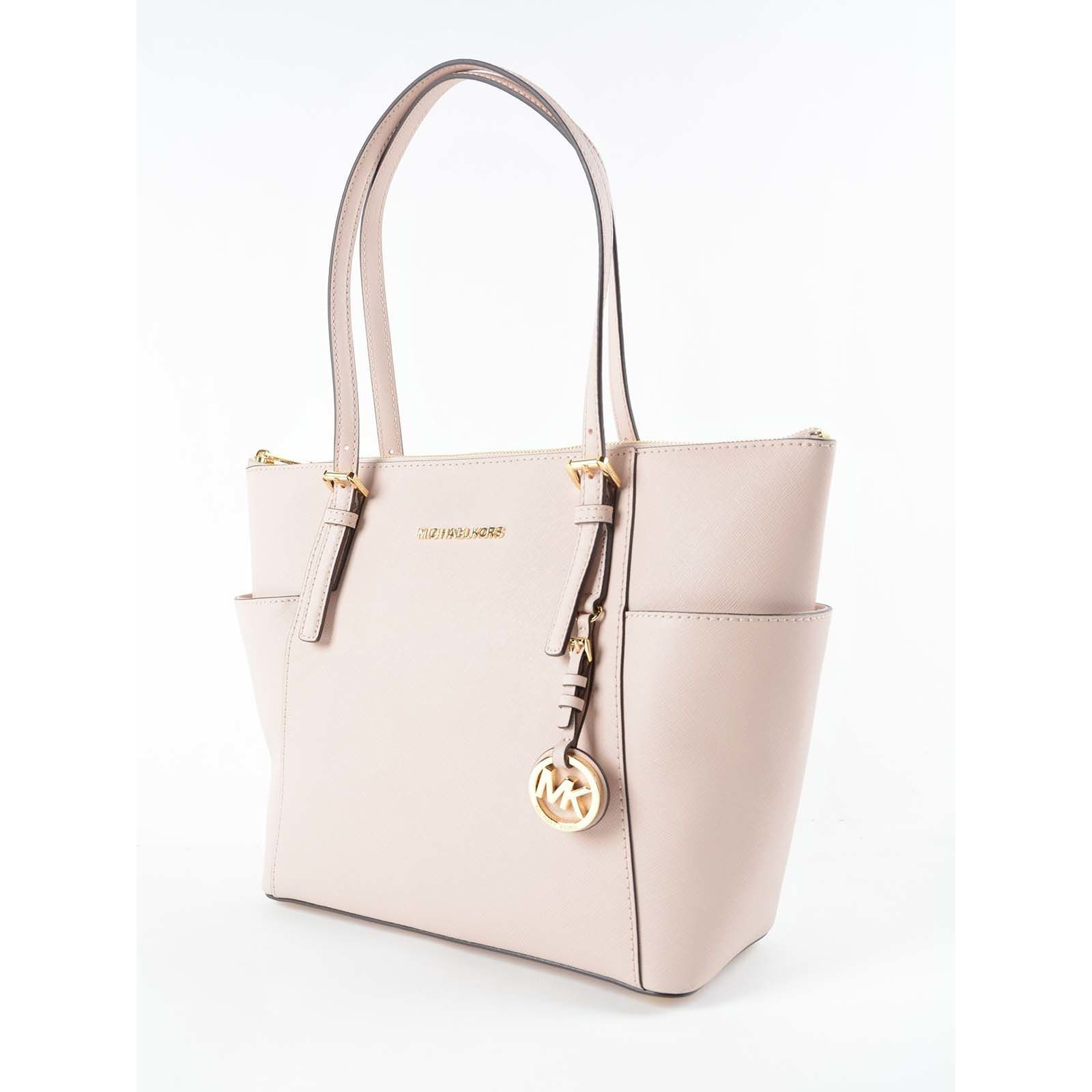 d6cd3bacc558 Shop Michael Kors Jet Set East West Pink Leather Large Top Zip Tote Bag -  Free Shipping Today - Overstock - 16536731