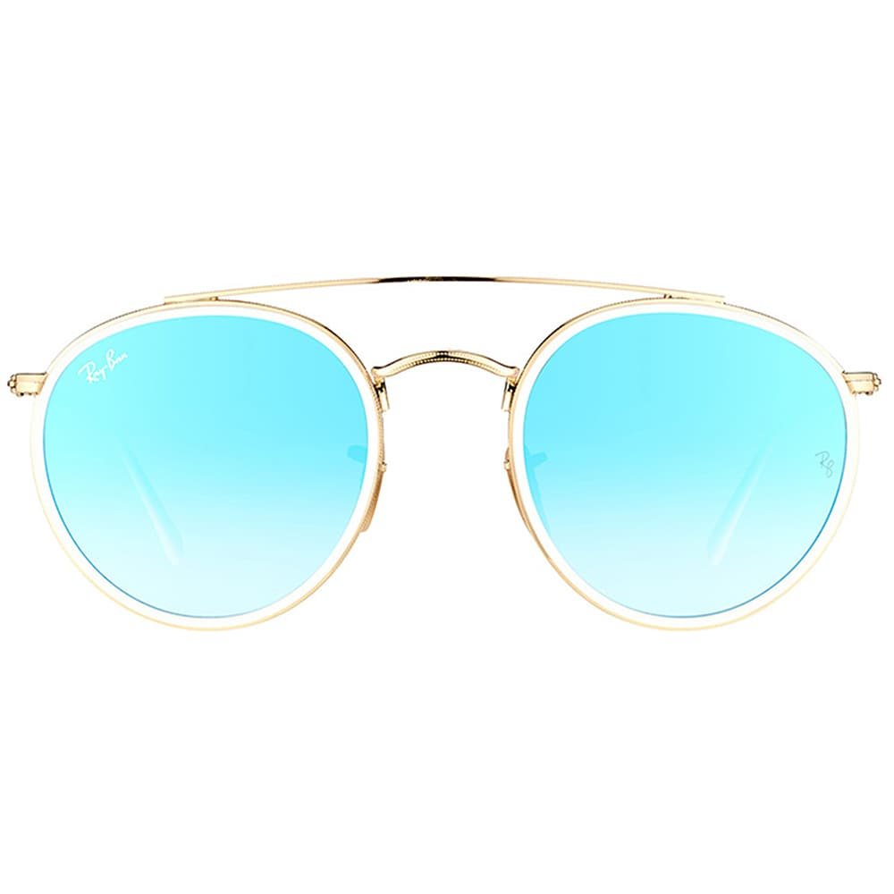 ed3b8fa5c61 Shop Ray-Ban RB 3647N 001 4O Round Double Bridge Gold White Metal Round  Sunglasses Blue Mirror Lens - Free Shipping Today - Overstock - 16563190