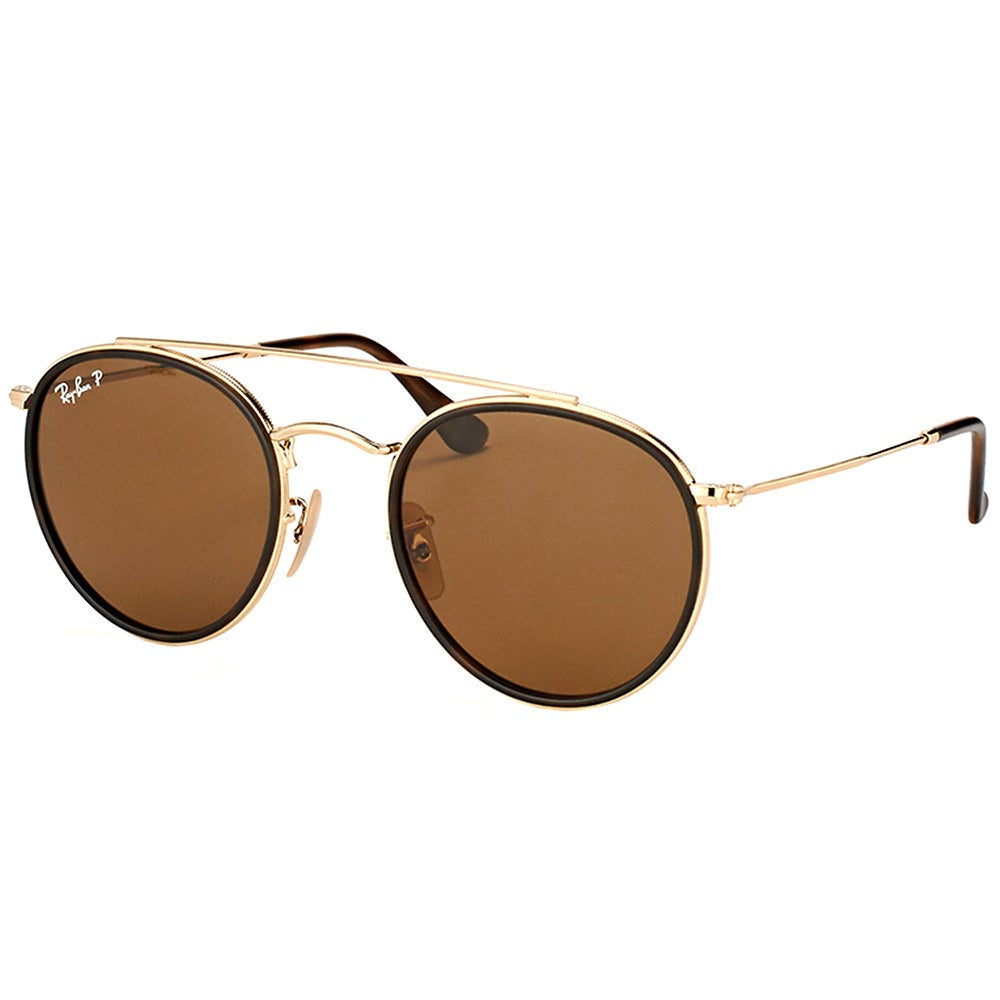 1955a81f8ef Ray-Ban RB 3647N 001 57 Round Double Bridge Gold Brown Metal Round  Sunglasses Brown Polarized Lens