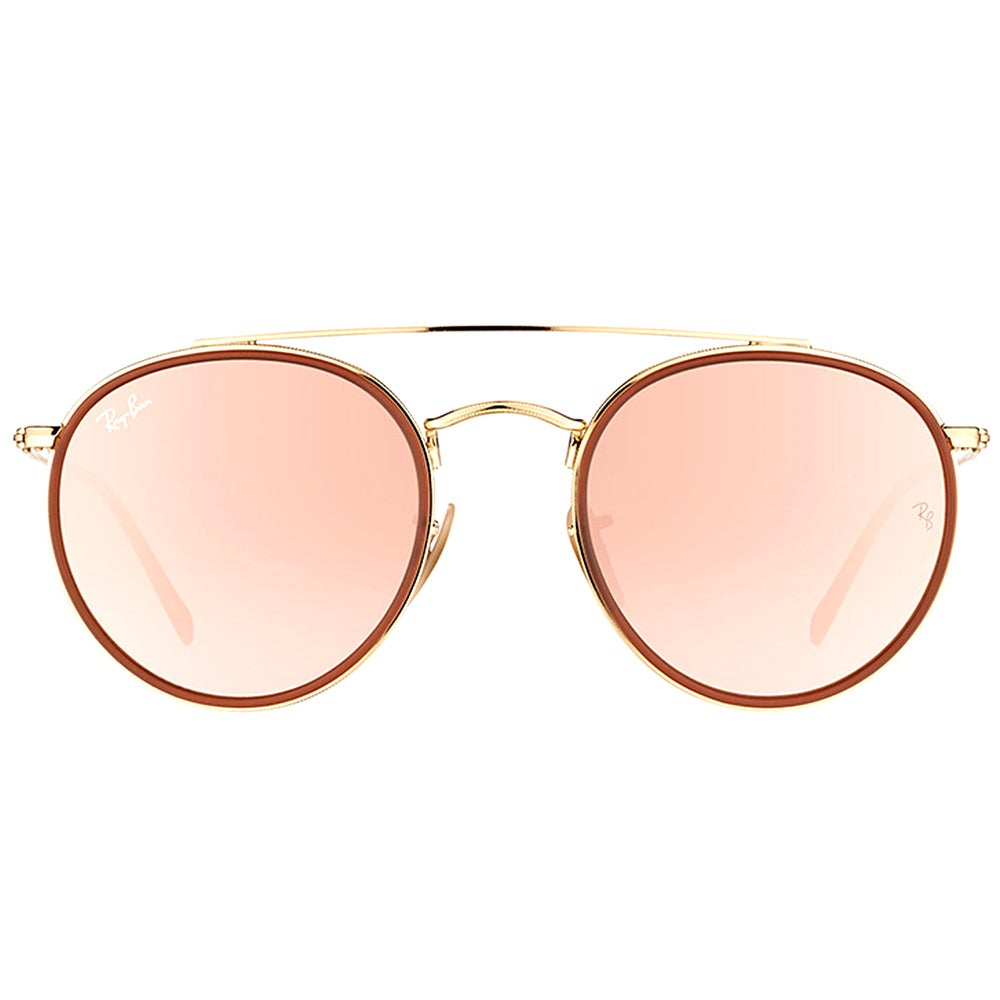 78d8fdbd04 Shop Ray-Ban RB 3647N 001 7O Round Double Bridge Gold Red Metal Round  Sunglasses Pink Mirror Lens - Free Shipping Today - Overstock - 16563206