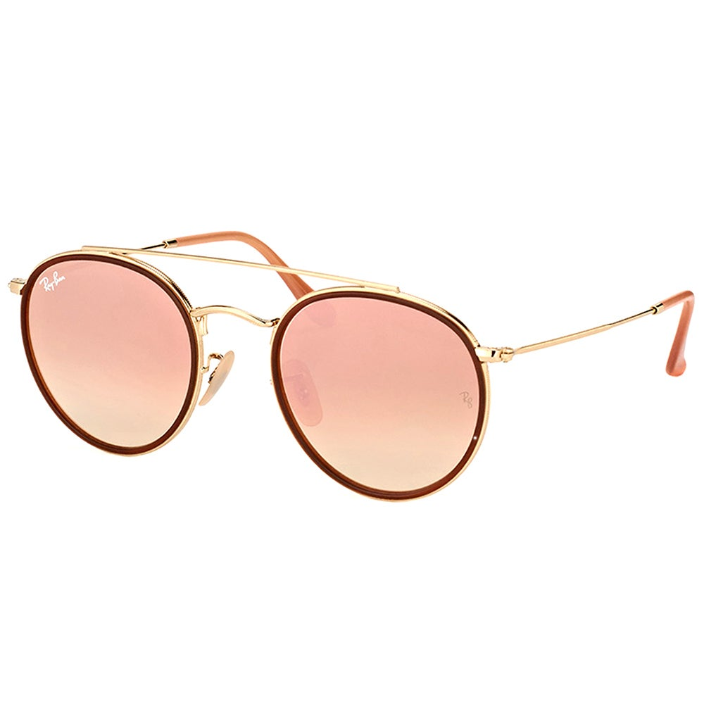 deee0ce34a Ray-Ban RB 3647N 001 7O Round Double Bridge Gold Red Metal Round Sunglasses  Pink Mirror Lens
