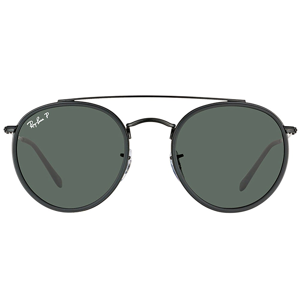 5d58ae8e74b Shop Ray-Ban RB 3647N 002 58 Round Double Bridge Black Metal Round  Sunglasses Green Polarized Lens - Free Shipping Today - Overstock - 16563211