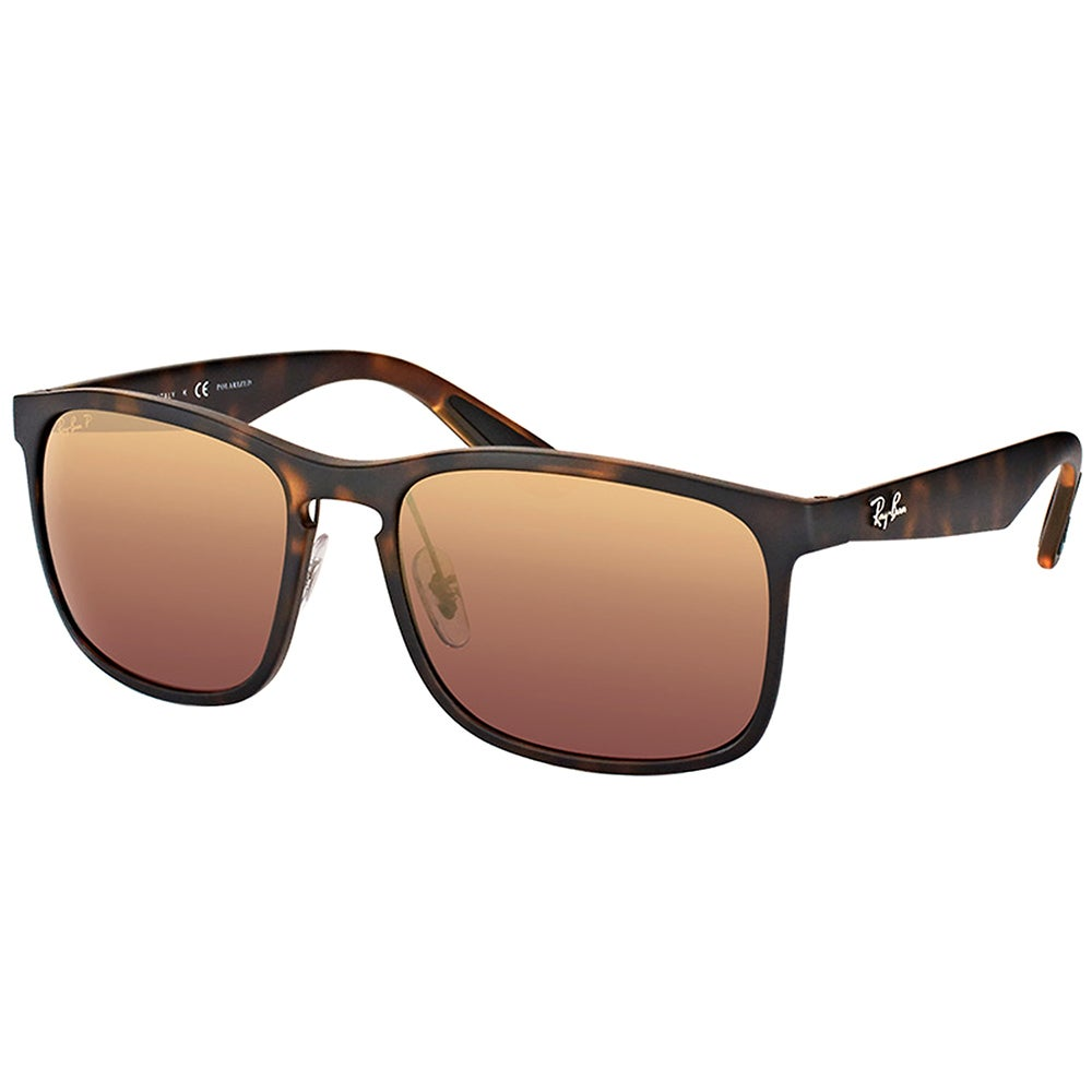 db006c6613f Ray-Ban RB 4264 894 6B Matte Havana Plastic Square Sunglasses Brown Flash  Polarized Chromance Lens