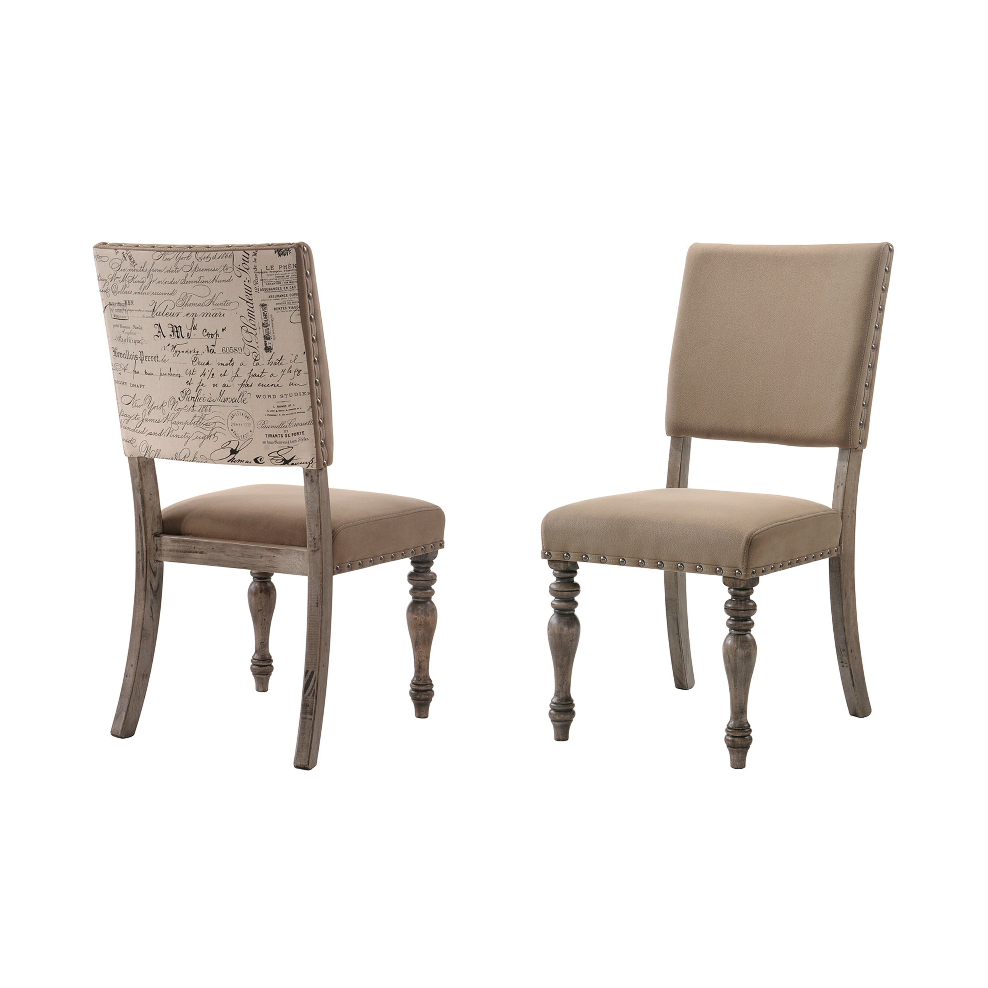 Shop birmingham script printed driftwood finish dining chair with nail head set of 2 free shipping today overstock 16564164