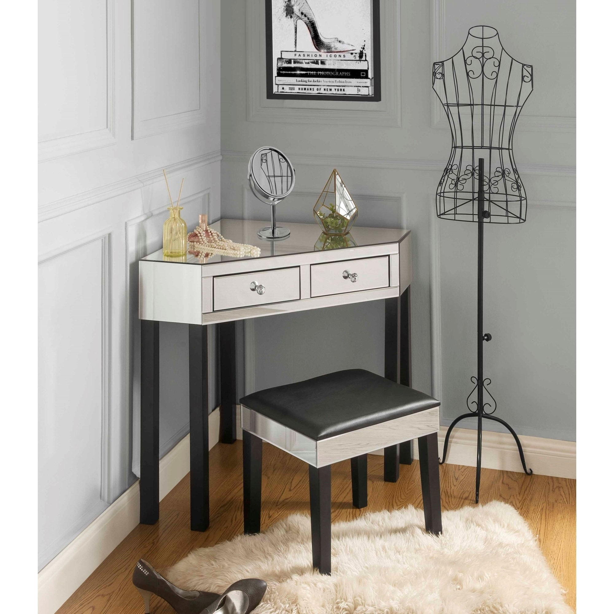 Portia Mirrored 2 Drawer Vanity Corner Table And Stool Set Free Shipping Today 16564266