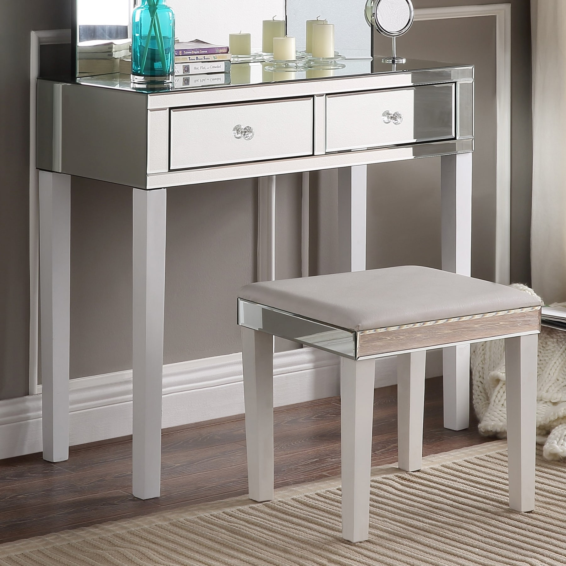 Fabulous Portia Modern Contemporary Mirror 2-drawer Vanity Table and Stool  FR04
