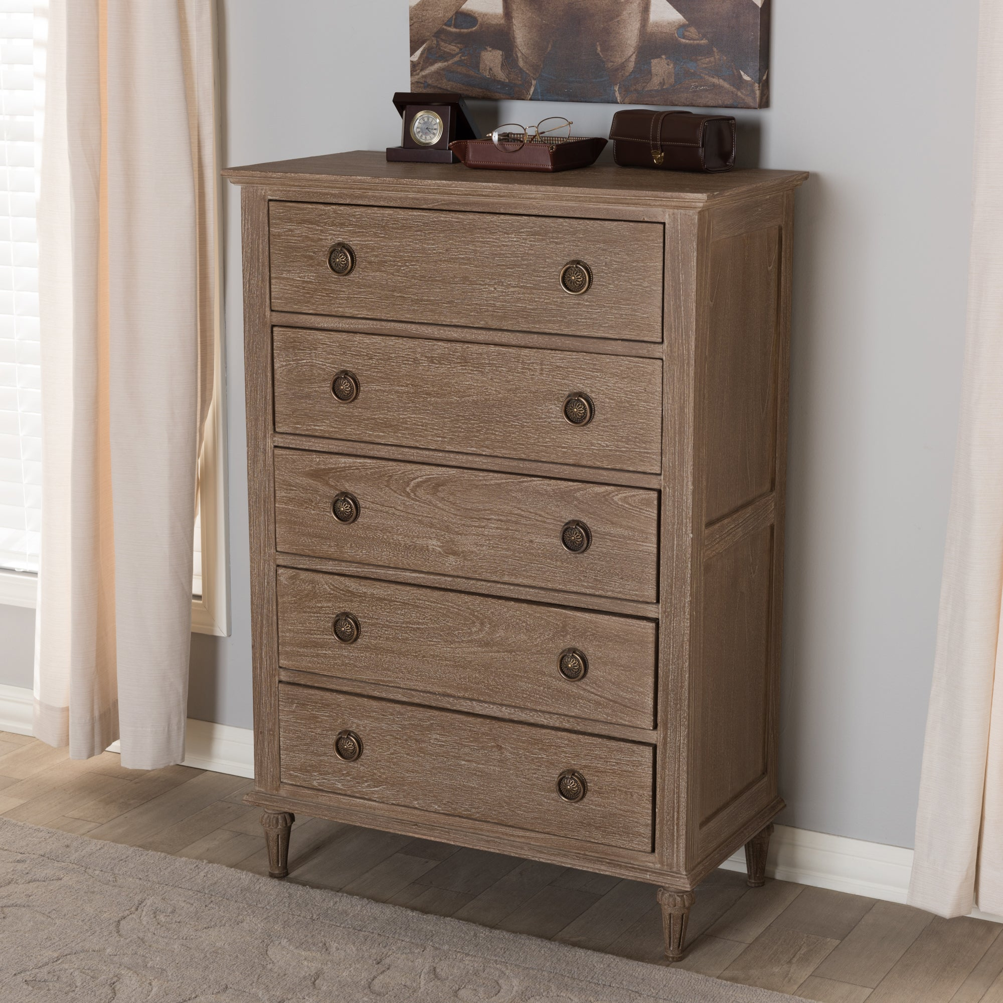 Shop rustic wood 5 drawer chest by baxton studio free shipping today overstock com 16564497