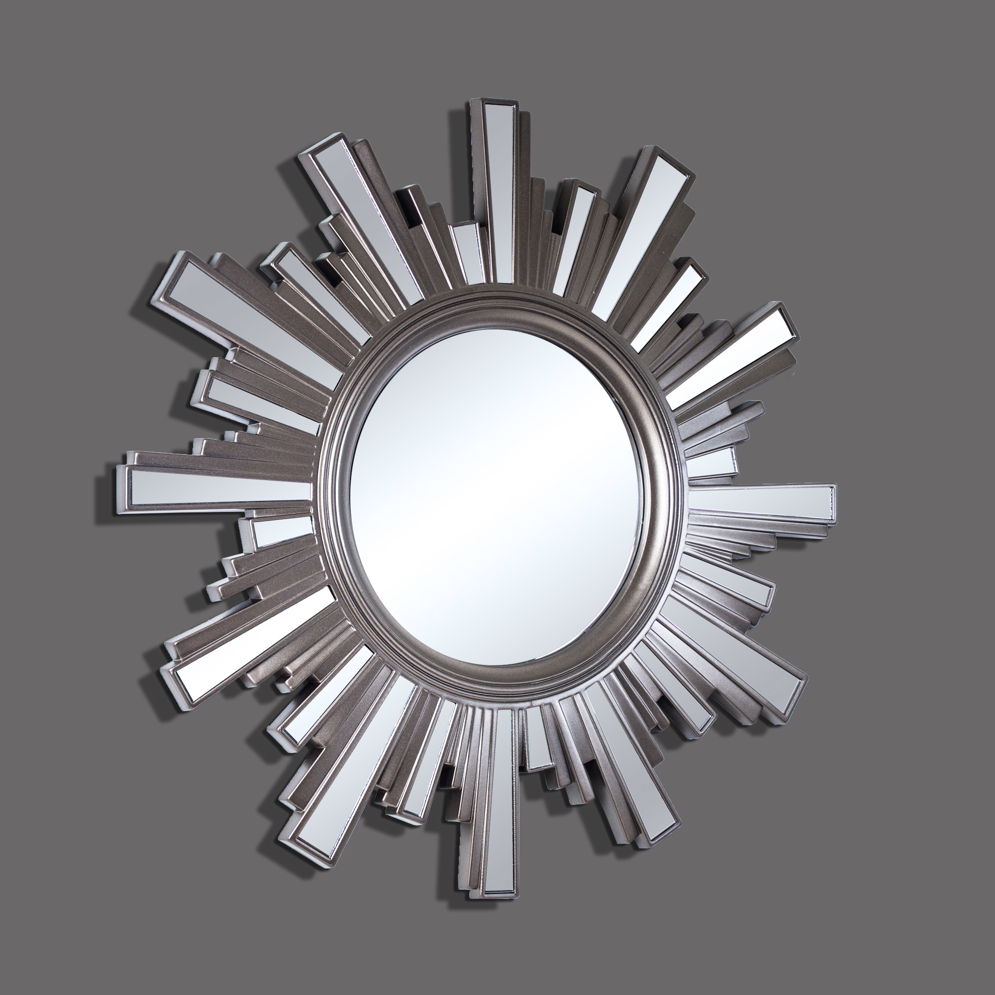 Skyline Pewter Sunburst Decorative Framed Wall Mirrors (Set of 5 ...