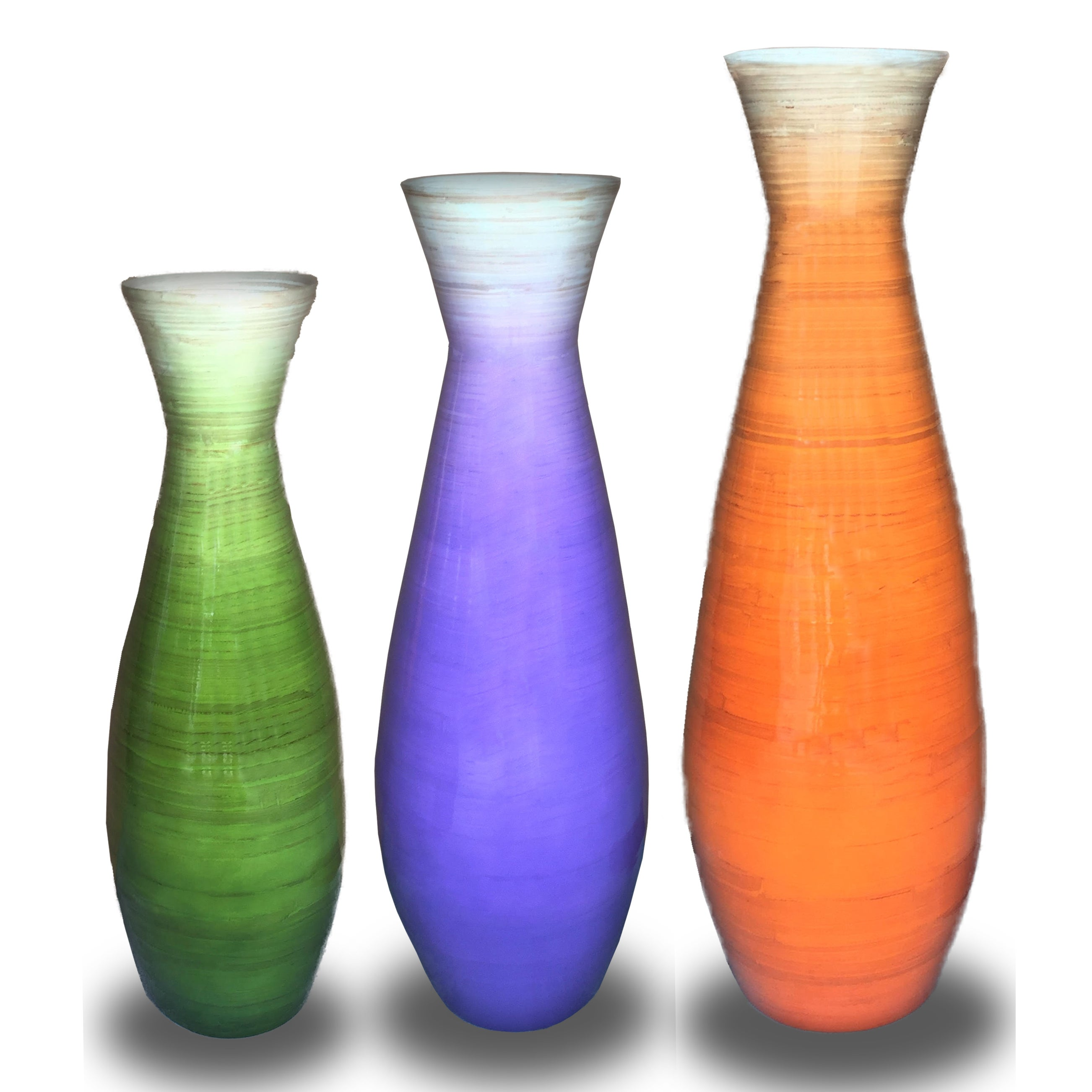 Beautiful Set of 3 Tall Bamboo Floor Vases, in Orange, Purple, and Green  HT43