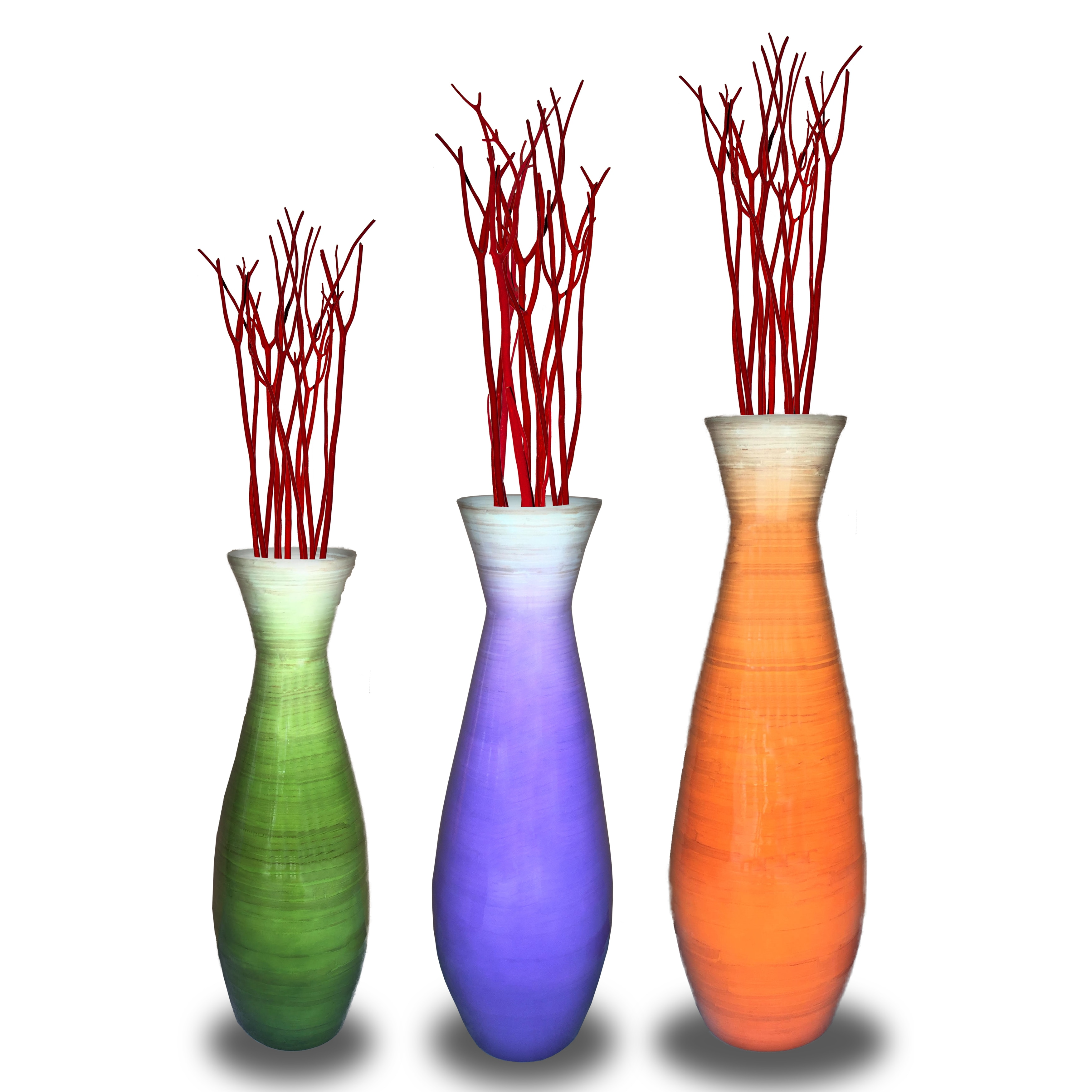 Well-liked Set of 3 Tall Bamboo Floor Vases, in Orange, Purple, and Green  ON08