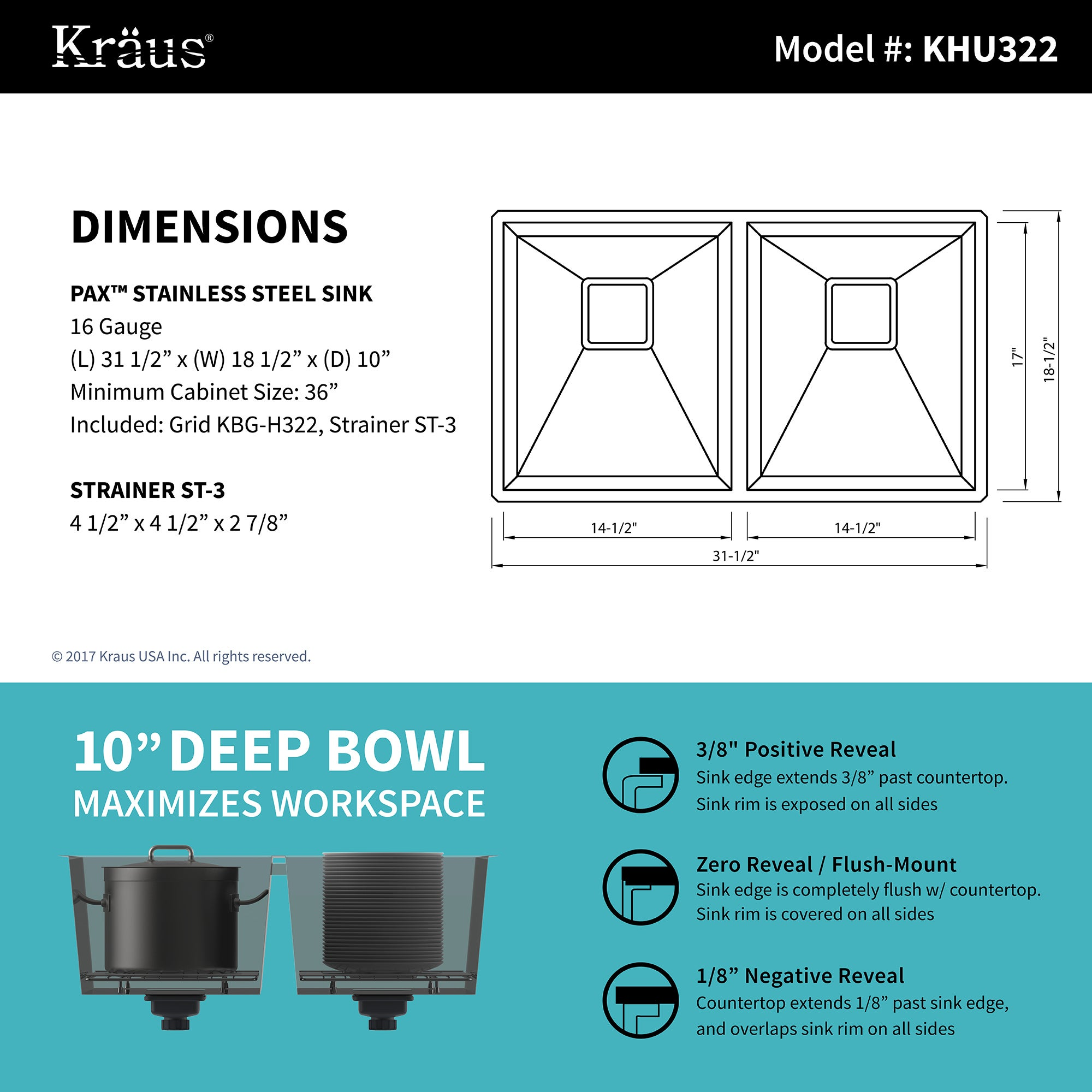 Shop KRAUS 31 Inch Pax Undermount 50/50 Double Bowl Stainless Steel ...