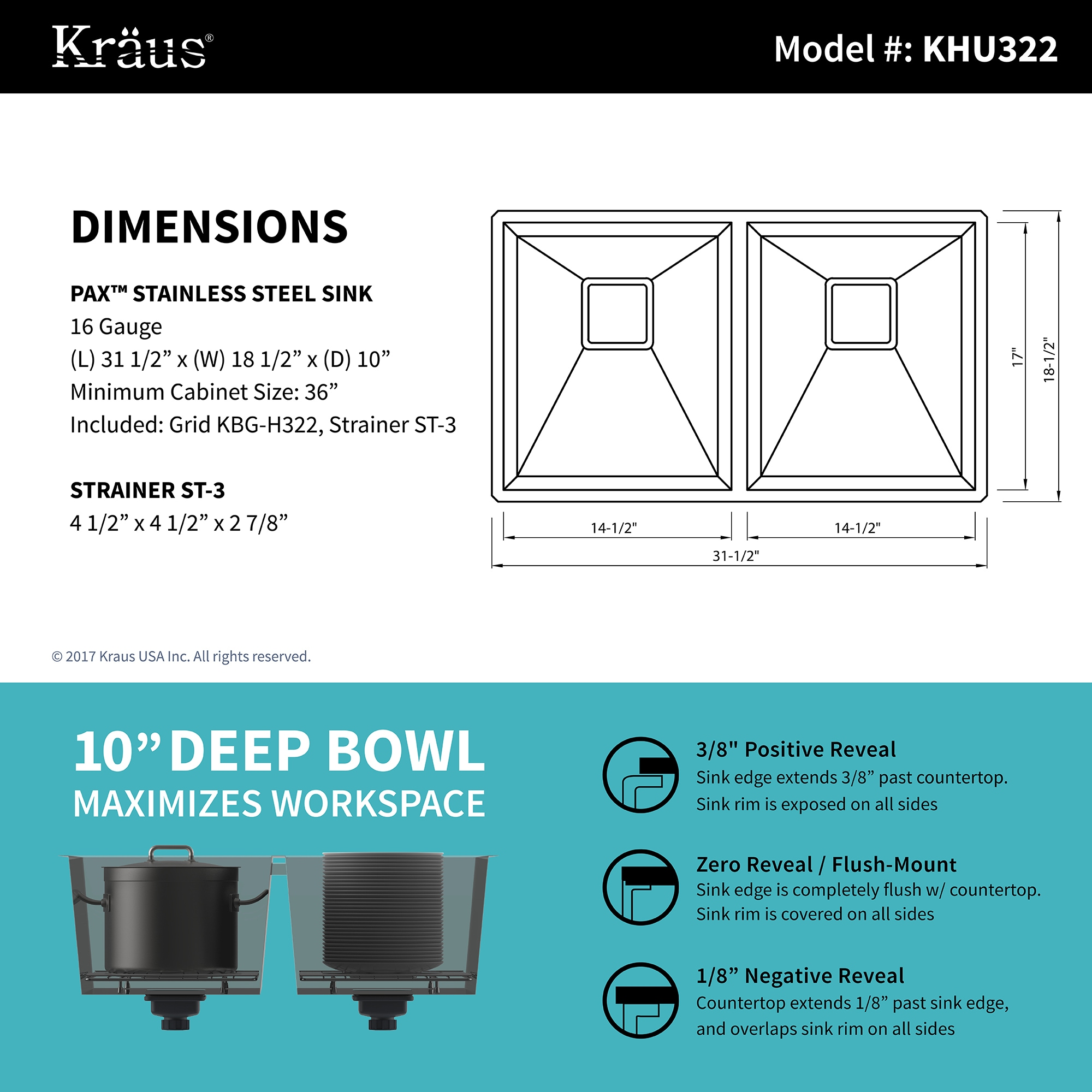 KRAUS 31 Inch Pax Undermount Double Bowl Stainless Steel Kitchen ...