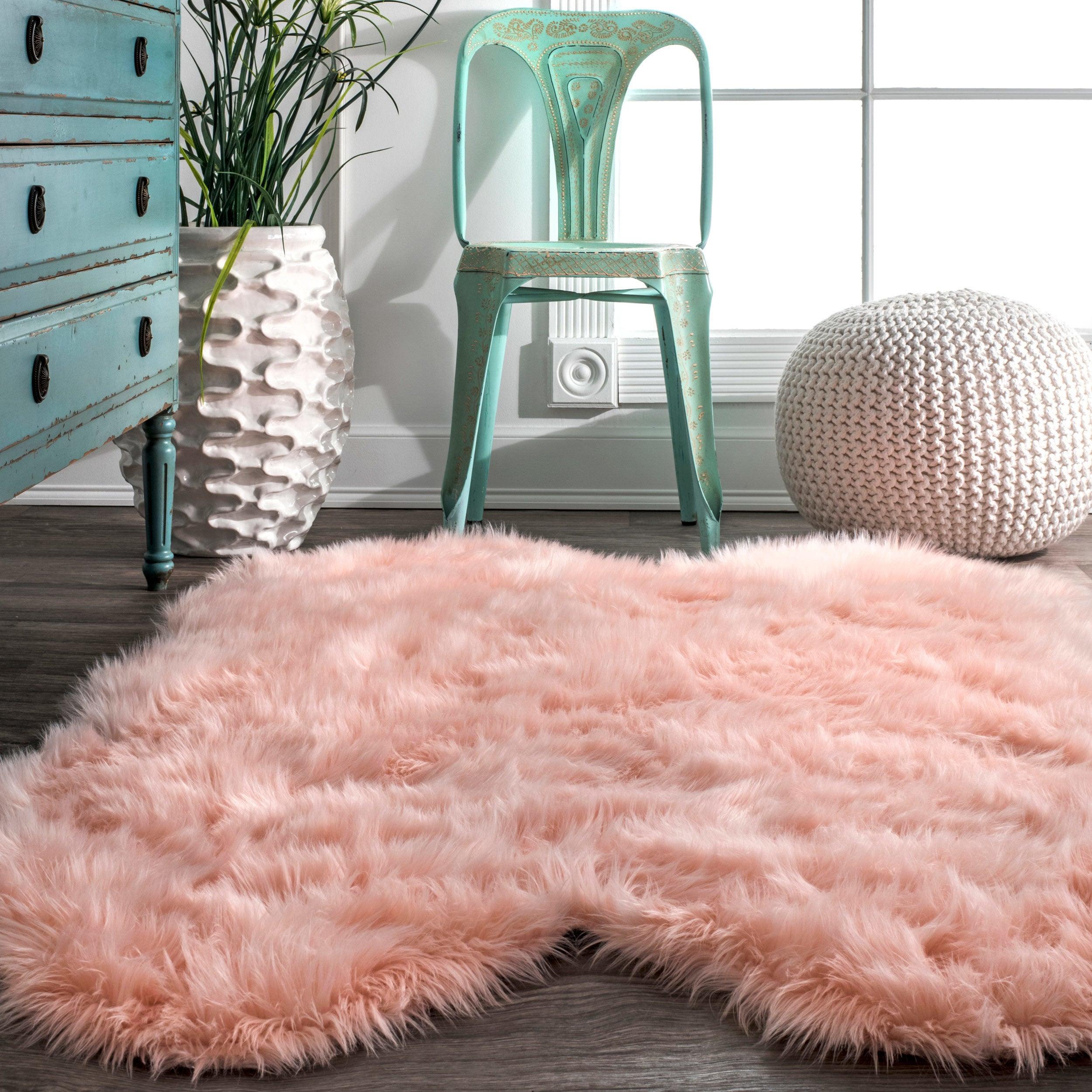 NuLOOM Faux Flokati Sheepskin Soft And Plush Cloud Pink Shag Rug (3u00276 X 6u0027)    Free Shipping Today   Overstock.com   22911356