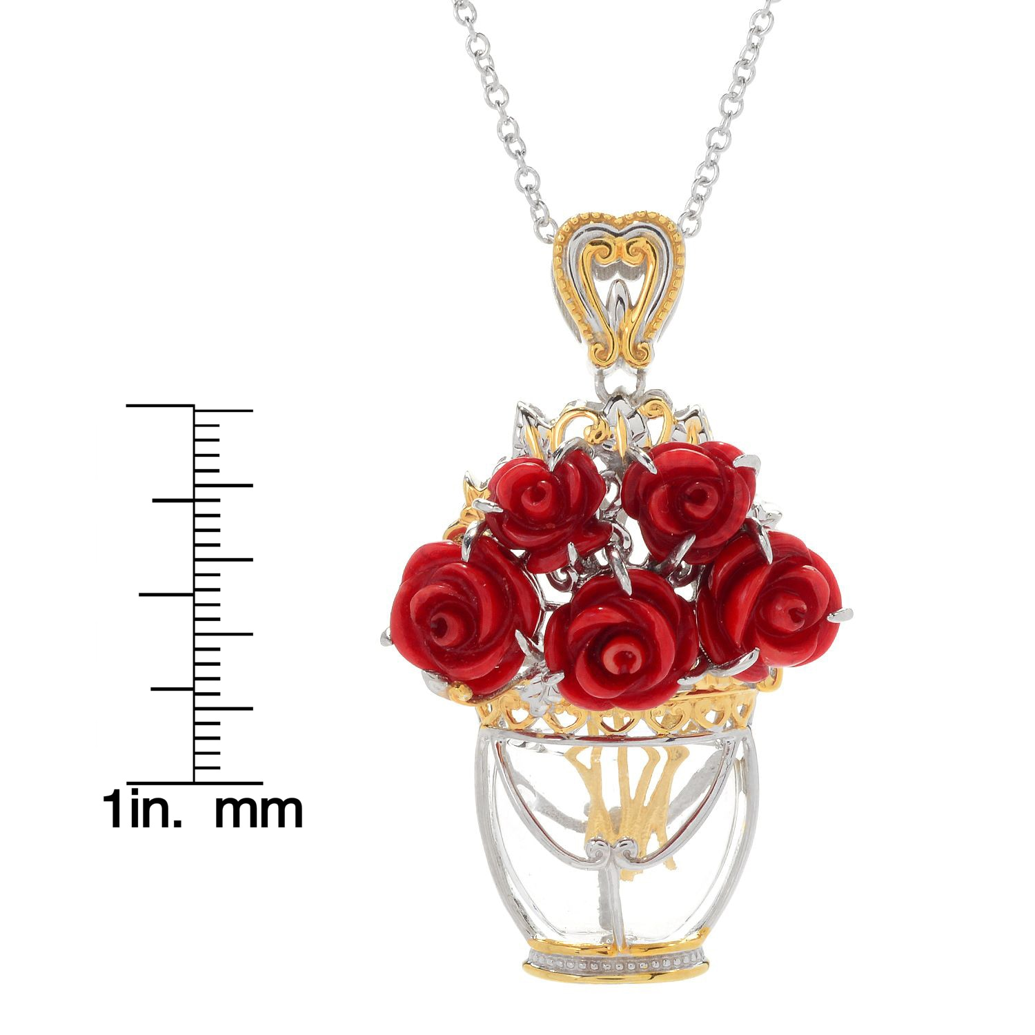 Shop Michael Valitutti Palladium Silver Carved Coral Flower & Glass ...