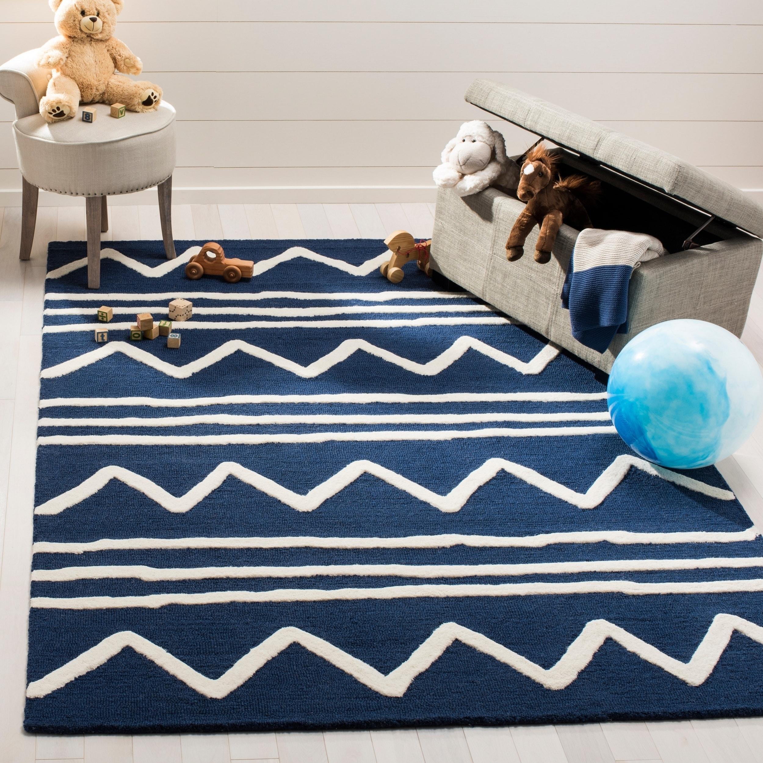 Safavieh Kids Transitional Geometric Hand Tufted Wool Navy Ivory Area Rug 5 X 7 On Free Shipping Today 16600827