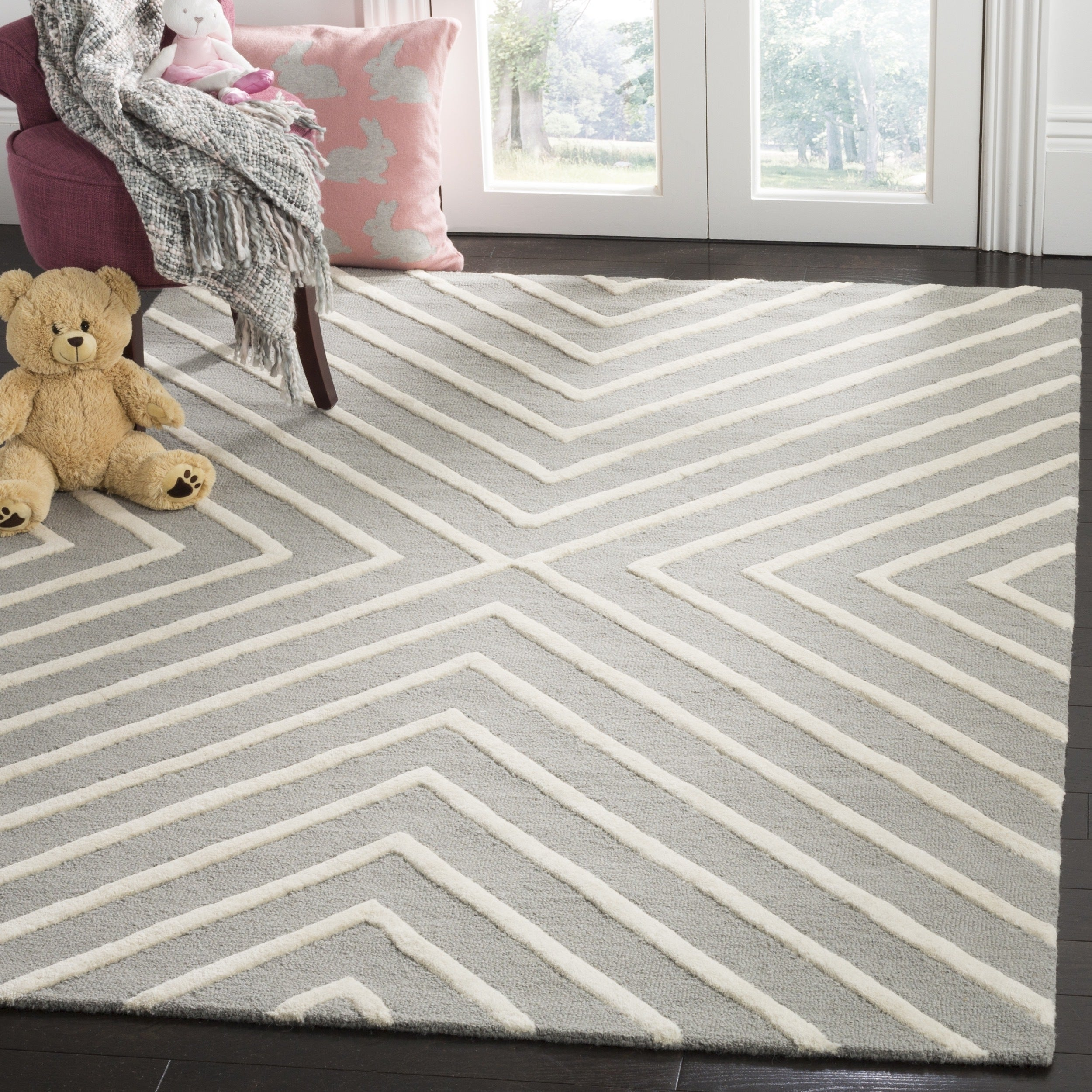 Safavieh Kids Transitional Geometric Hand Tufted Wool Grey Ivory Area Rug 3 X 5 On Free Shipping Today 16601875