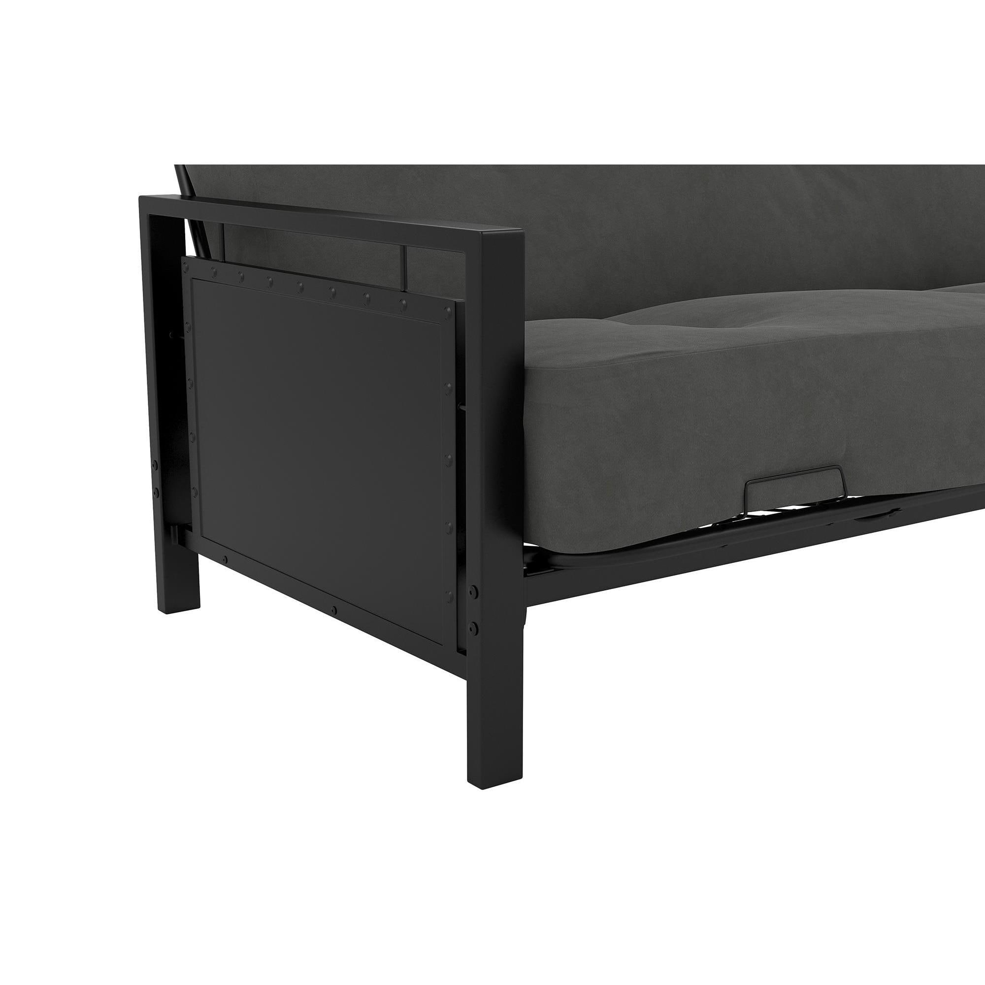 futon edison with futons frame steel full metal walker modern bunk black pin size twin bed
