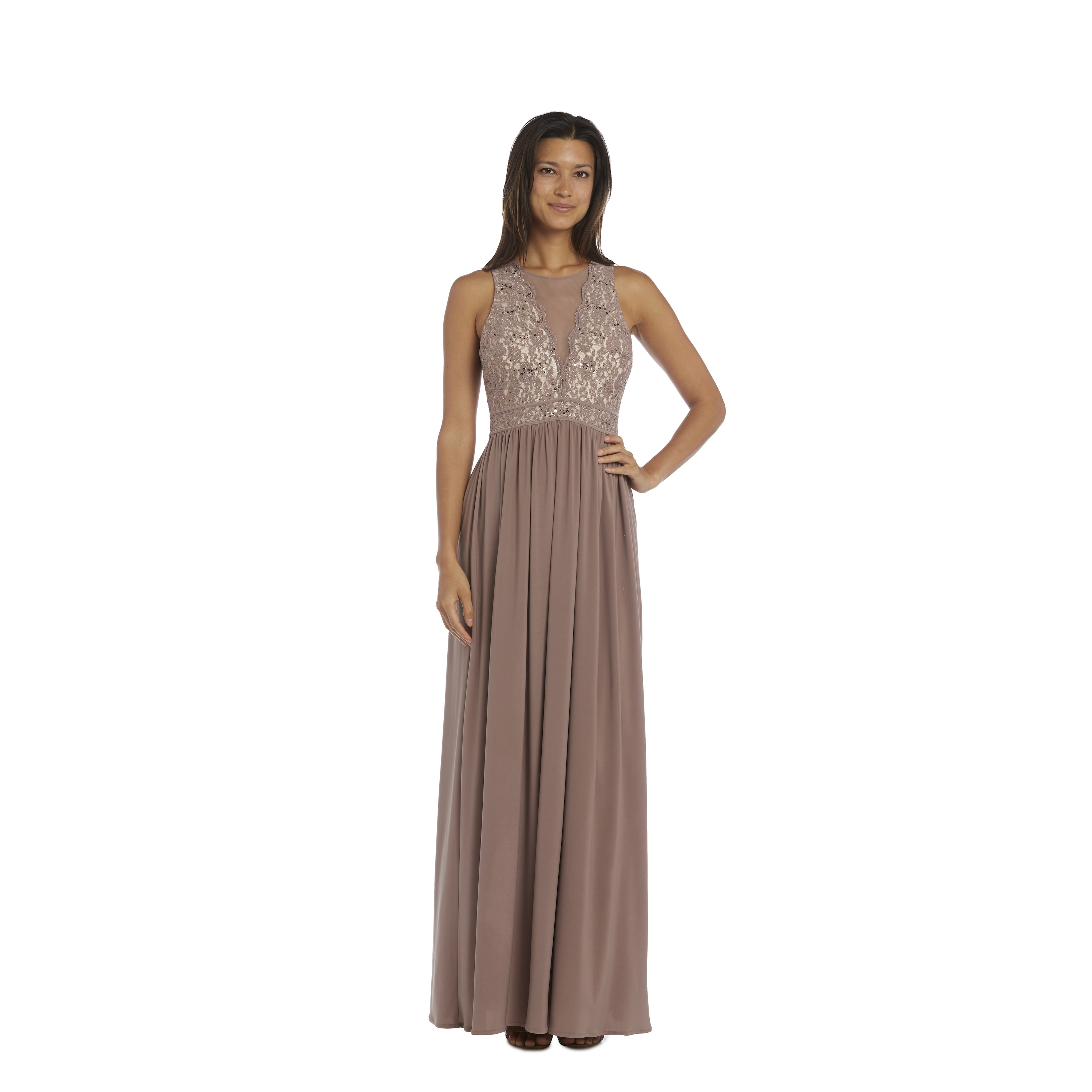 Shop Nightway Ivory and Taupe Lace Evening Gown - Free Shipping ...