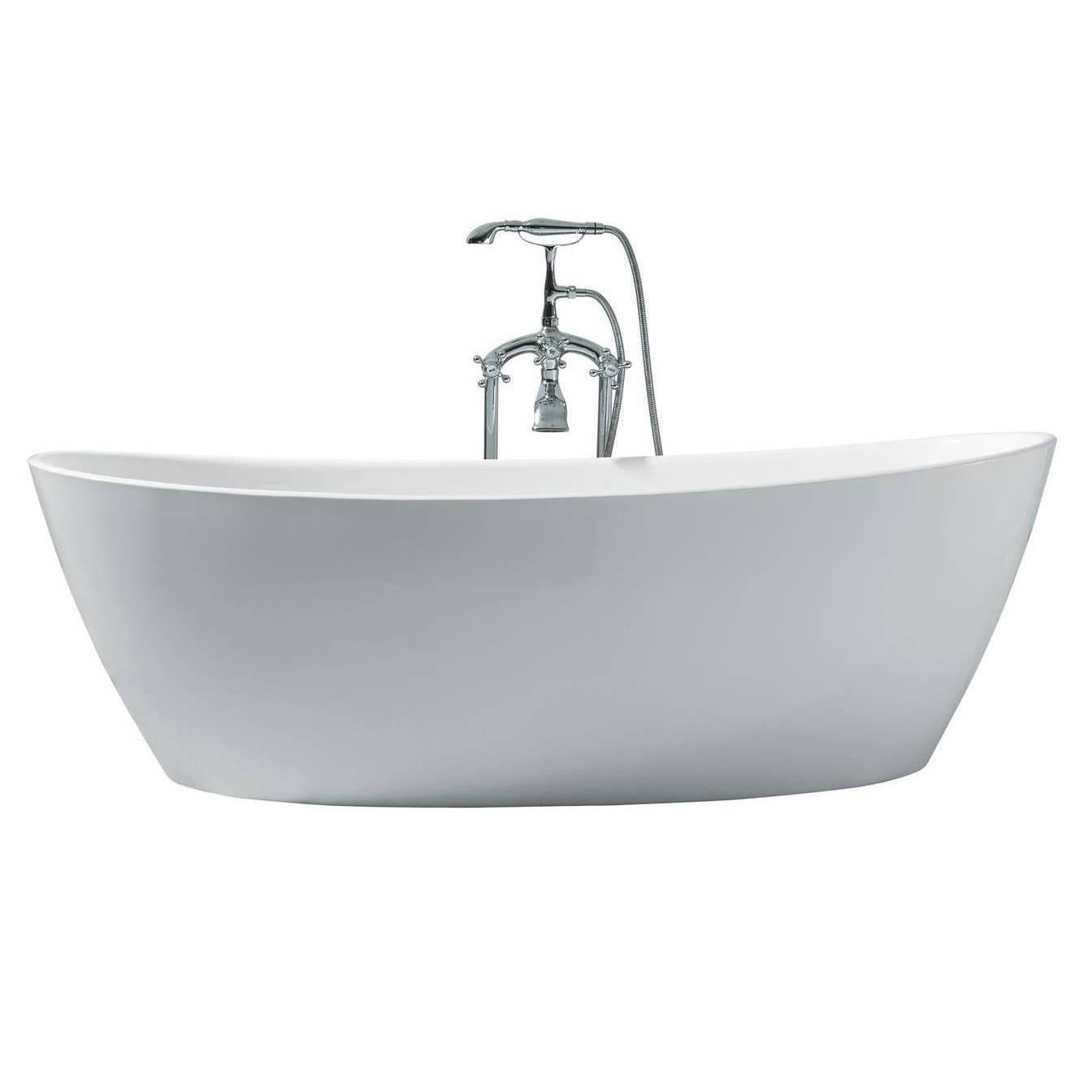 Shop Ariel Platinum Valencia White Acrylic 70-inch Oval Bathtub ...