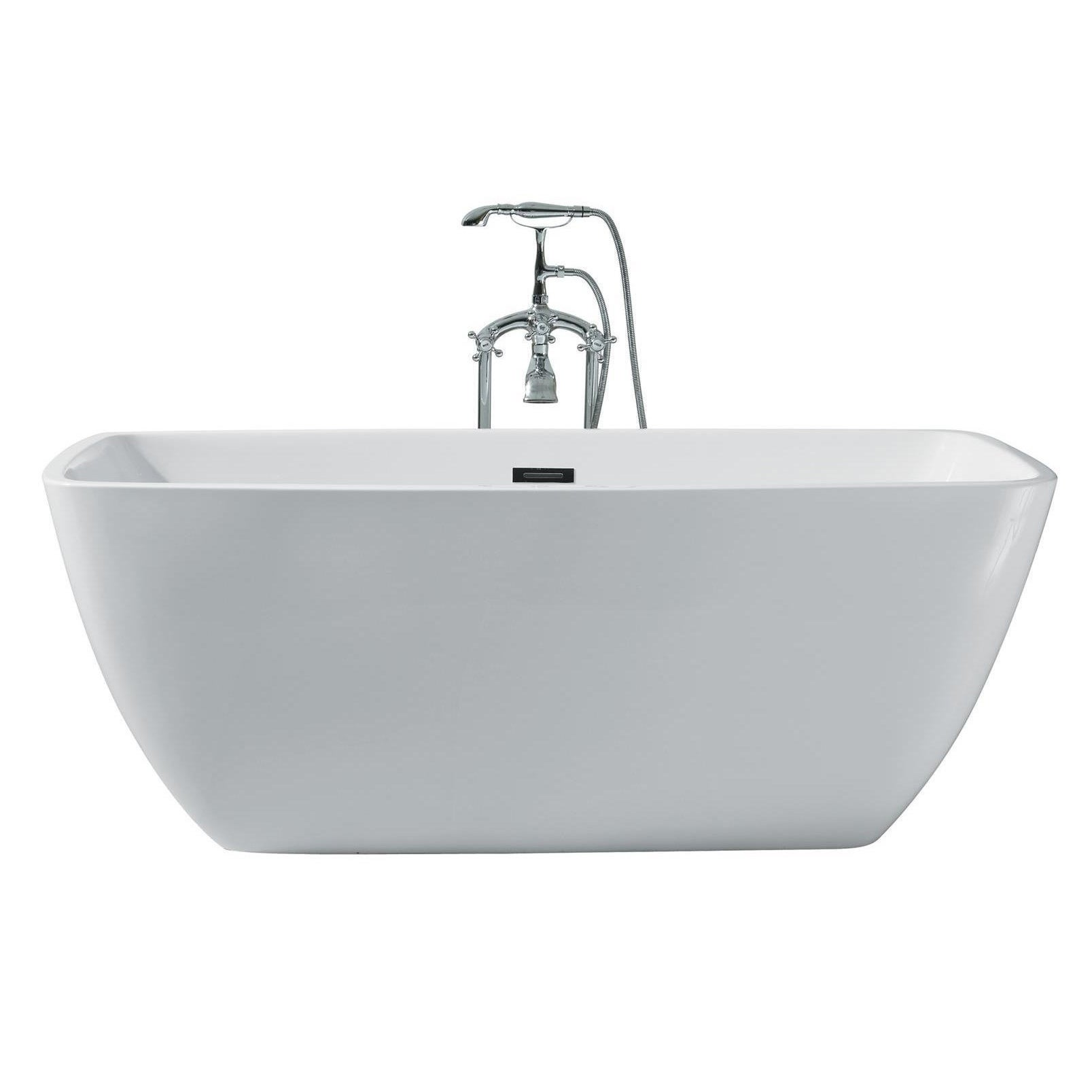 Shop Ariel Platinum Aurora White Acrylic 63-inch Rectangular Bathtub ...