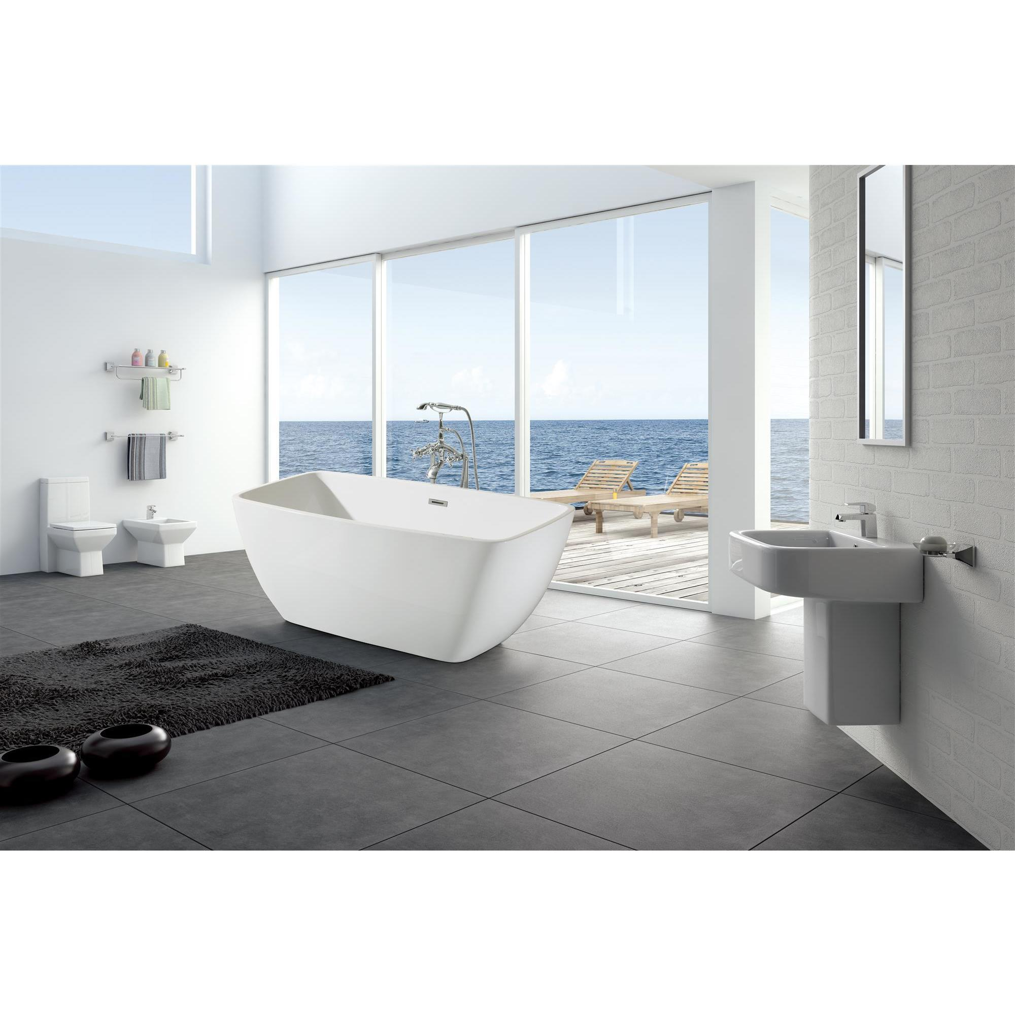 Charmant Shop Ariel Platinum Aurora White Acrylic 63 Inch Rectangular Bathtub   Free  Shipping Today   Overstock.com   16604158