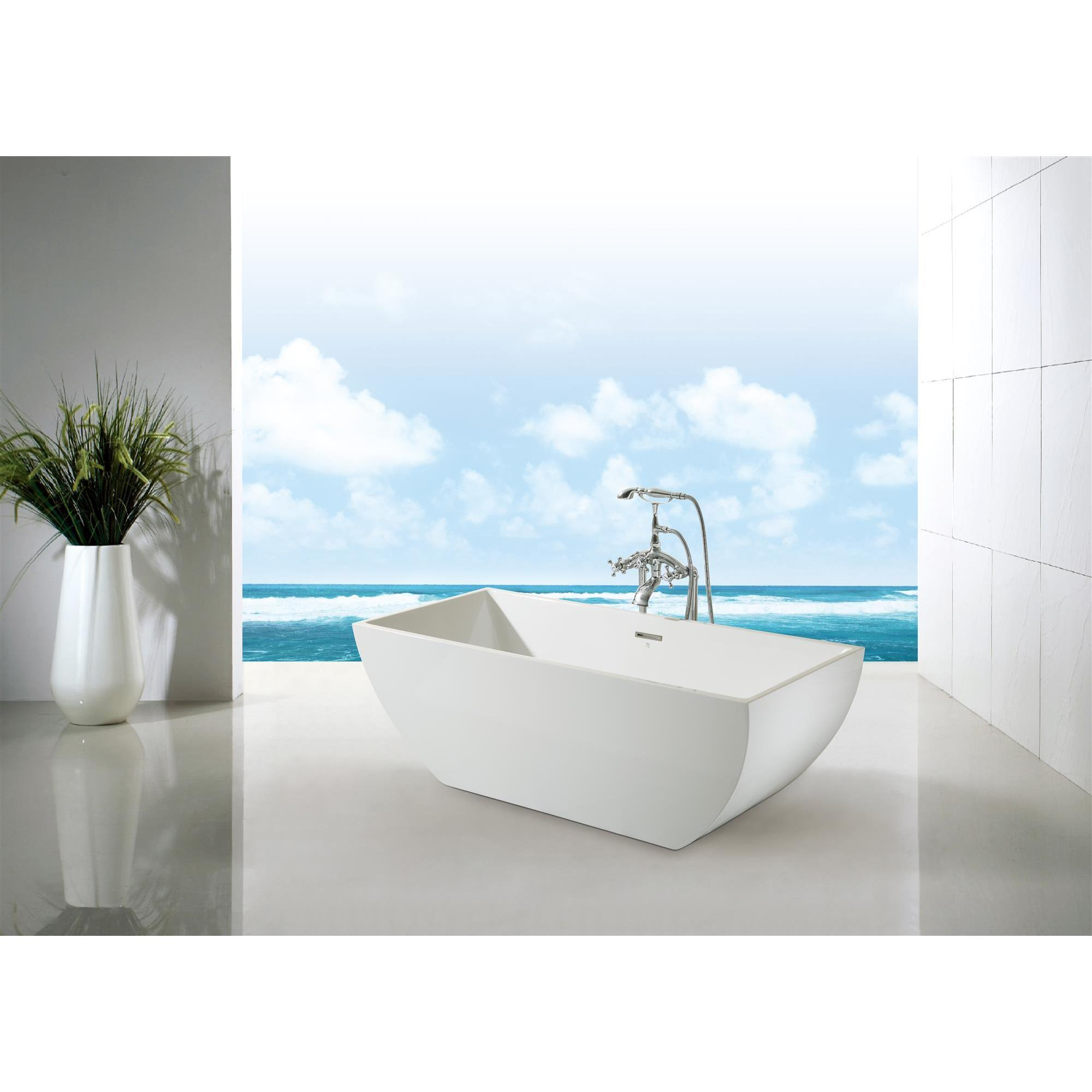 Ariel Platinum Chelsea White Acrylic 67-inch Rectangular Bathtub ...