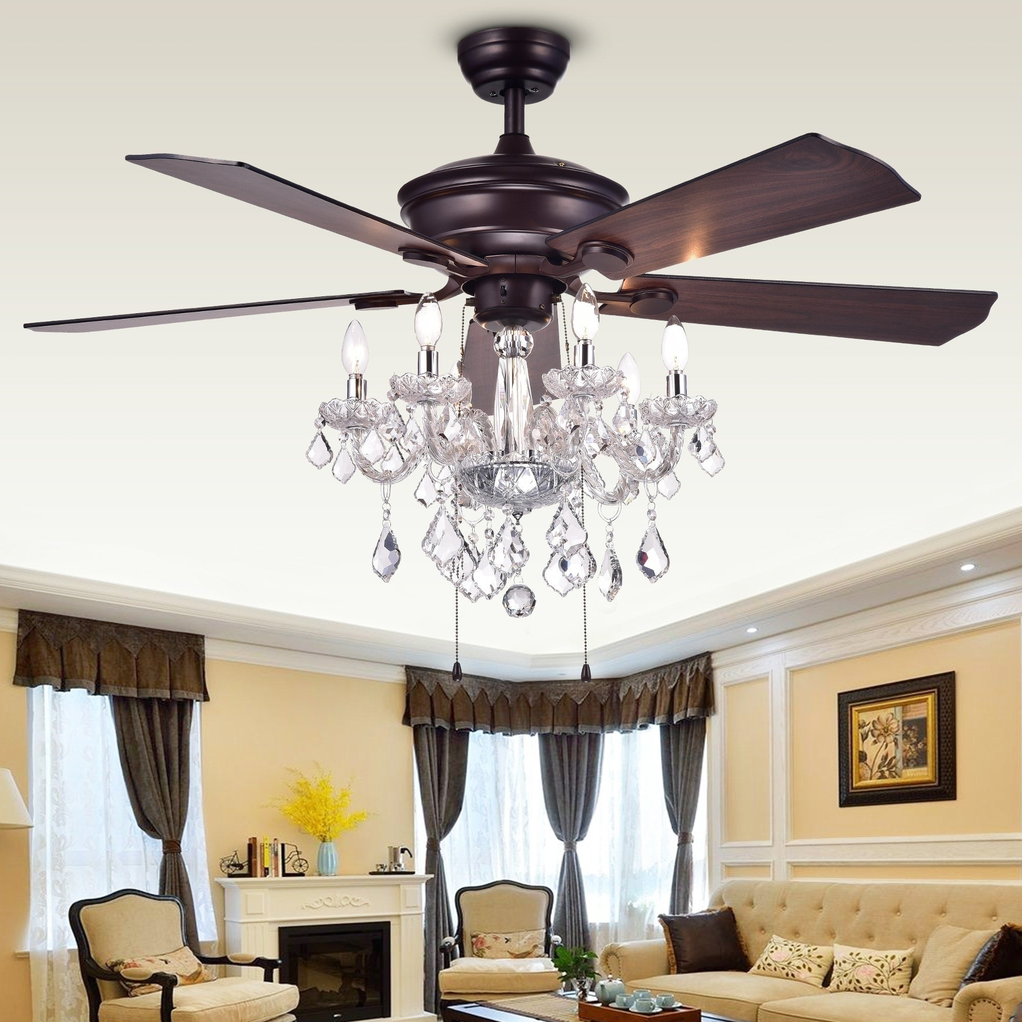 living room ceiling fan high ceiling shop warehouse of tiffany havorand 52inch 5blade ceiling fan with crystal chandelier optional remote brown on sale free shipping today