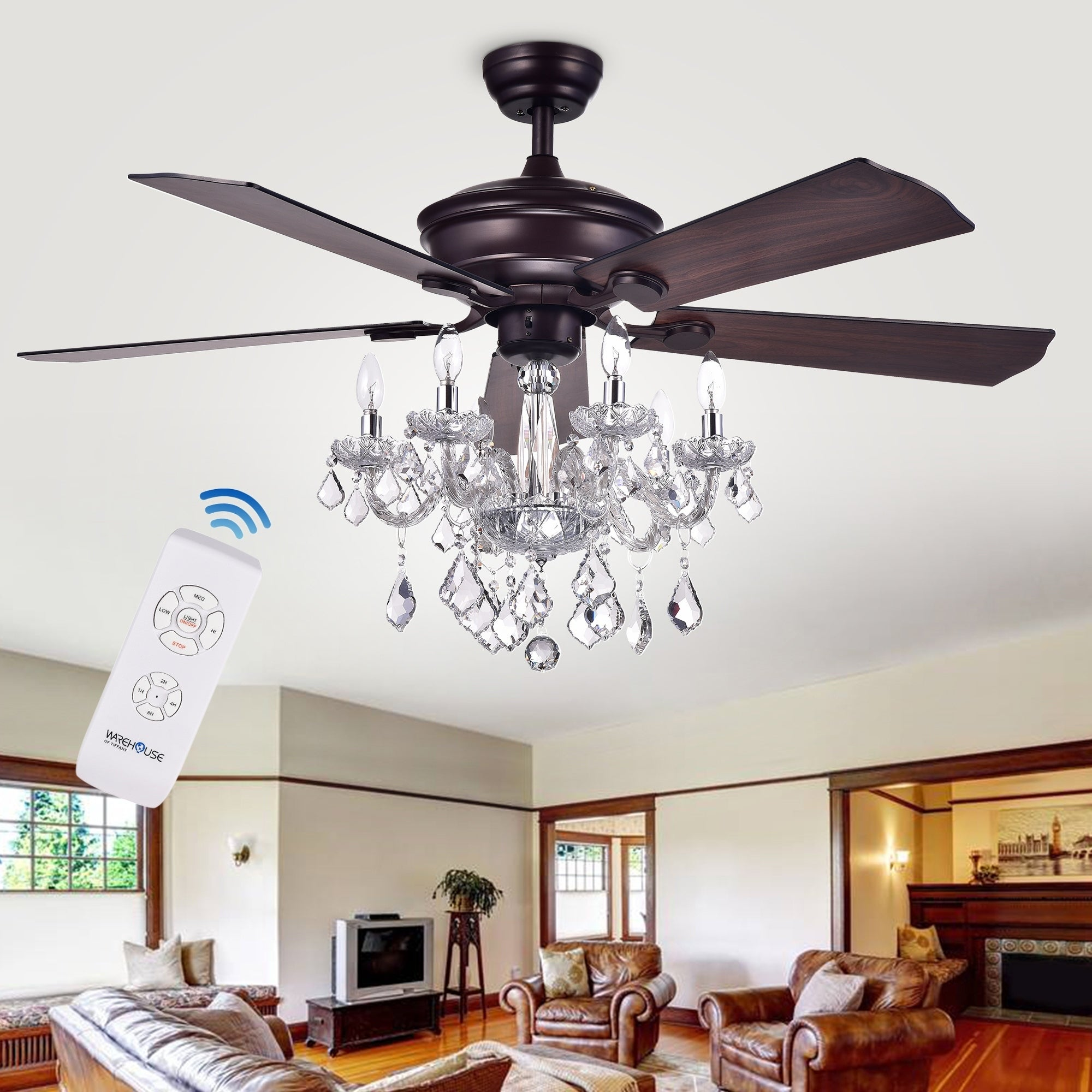 warehouse of tiffany chandelier. Warehouse Of Tiffany Havorand 52-inch 5-blade Ceiling Fan With Crystal Chandelier (Optional Remote) - Brown Free Shipping Today Overstock 22932069 C