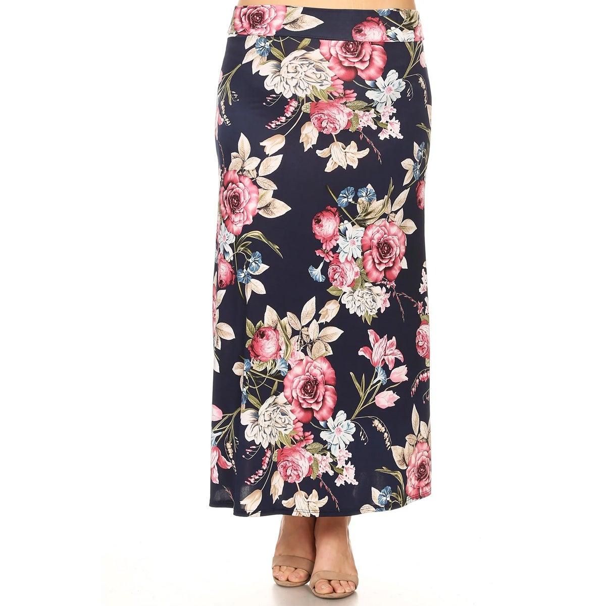15b1346f86cd Shop Women's Plus Size Navy Floral Maxi Skirt - On Sale - Free ...