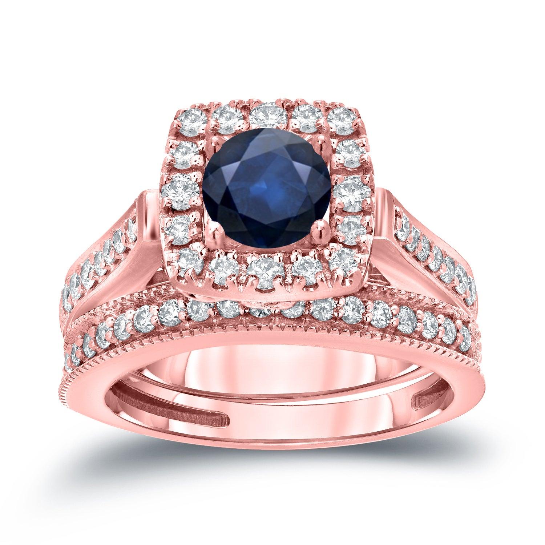 Auriya 14k Gold 1/3ct Blue Sapphire and 3/4ct TDW Round Diamond Halo ...