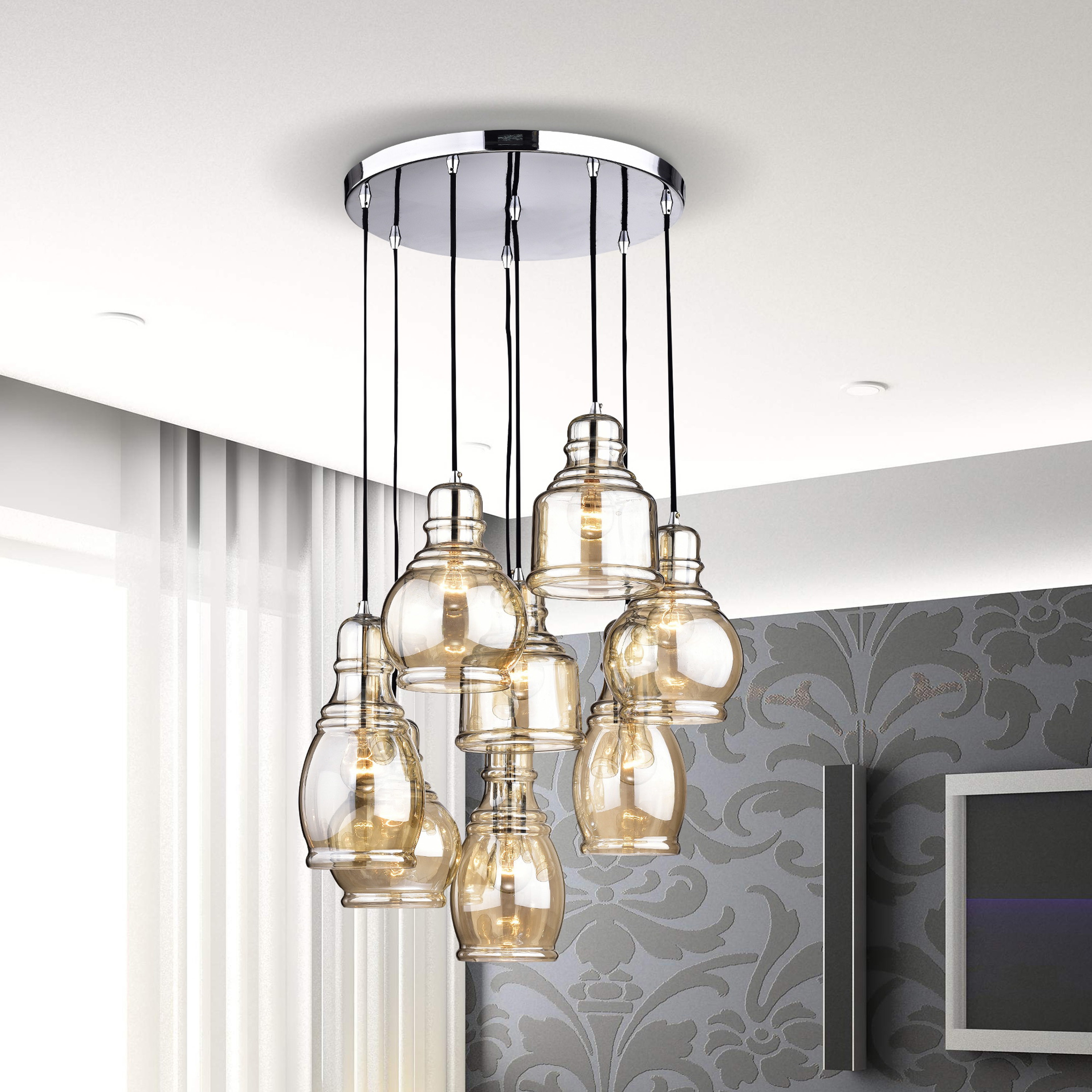 Mariana 8 light cognac glass cluster pendant chandelier with mariana 8 light cognac glass cluster pendant chandelier with chrome finish and round base free shipping today overstock 22942433 arubaitofo Gallery