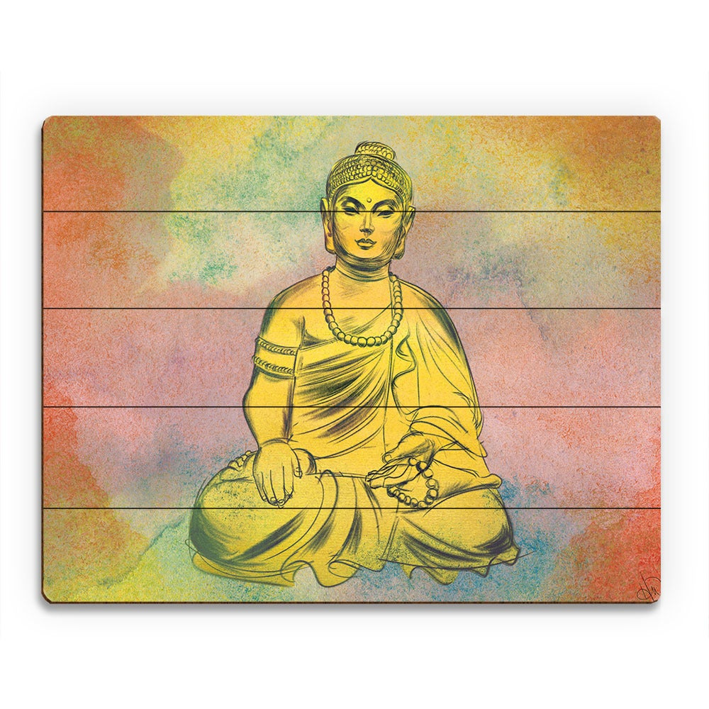 Shop Amber Buddha Watercolor Wall Art Print on Wood - On Sale - Free ...