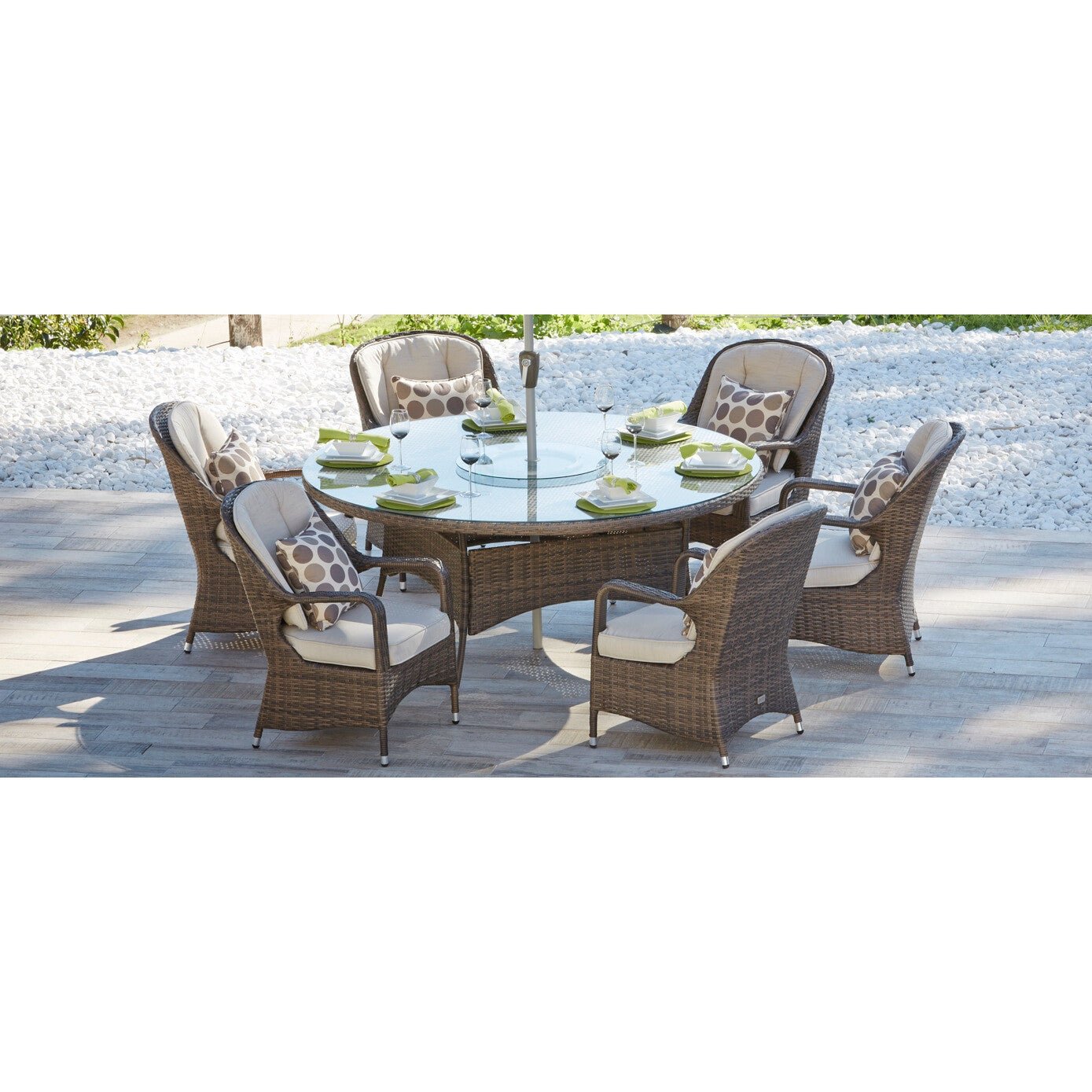 Shop Puerta Outdoor Garden 6-seat Brown Wicker Dining Set with Lazy Susan by Direct Wicker - On Sale - Free Shipping Today - Overstock.com - 16629703  sc 1 st  Overstock.com & Shop Puerta Outdoor Garden 6-seat Brown Wicker Dining Set with Lazy ...