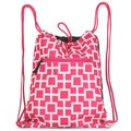 Zodaca Pink/ White Geometric Drawstring Backpack Sackpack Sling Bag for Gym/ School/ Outdoor Sports