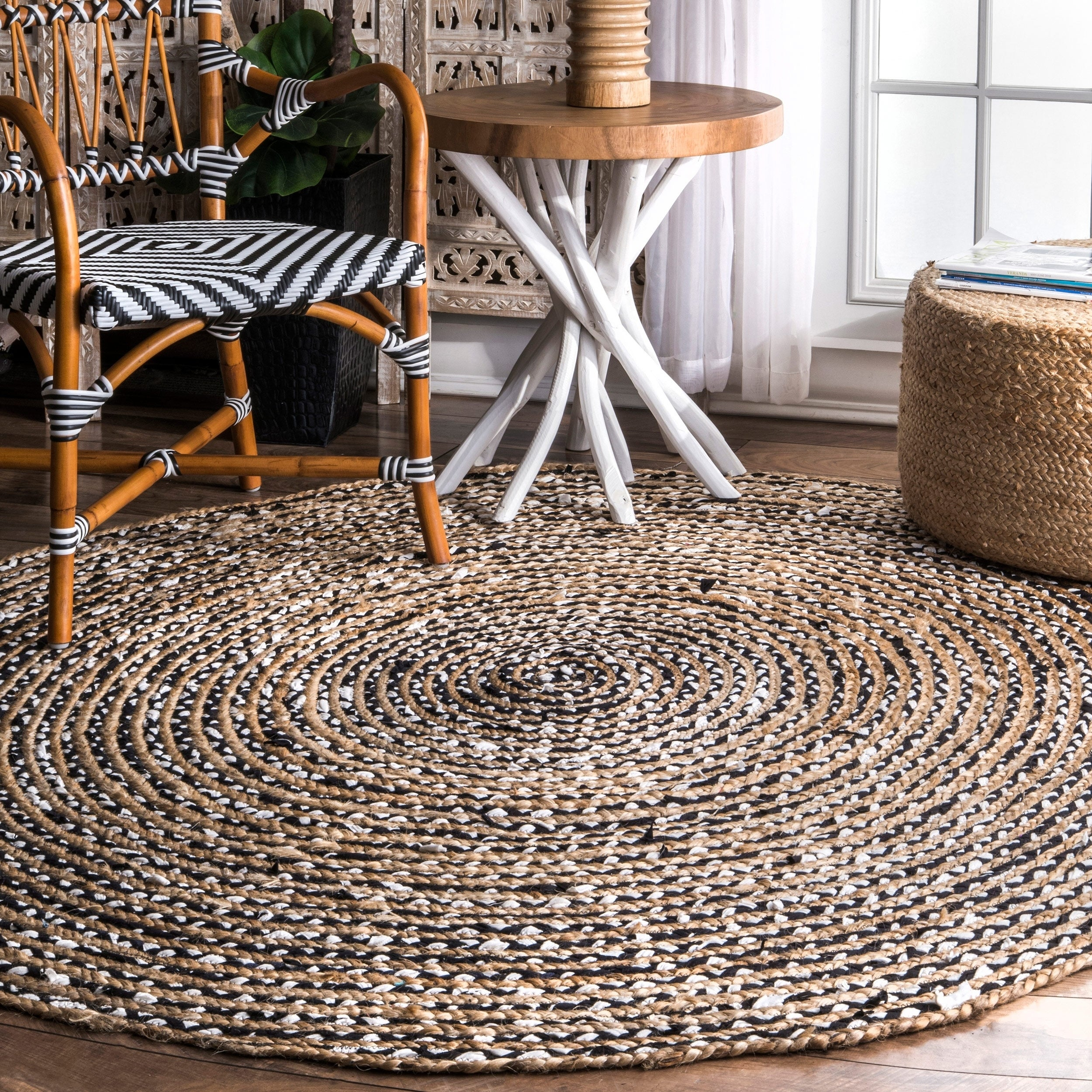 Shop nuloom causal natural fiber jute and cotton pinstripes black round rug 6 round 6 round on sale free shipping today overstock com 16633422