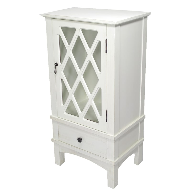 Shop Cottage White 1 Door 1 Drawer Accent Cabinet With Lattice Glass
