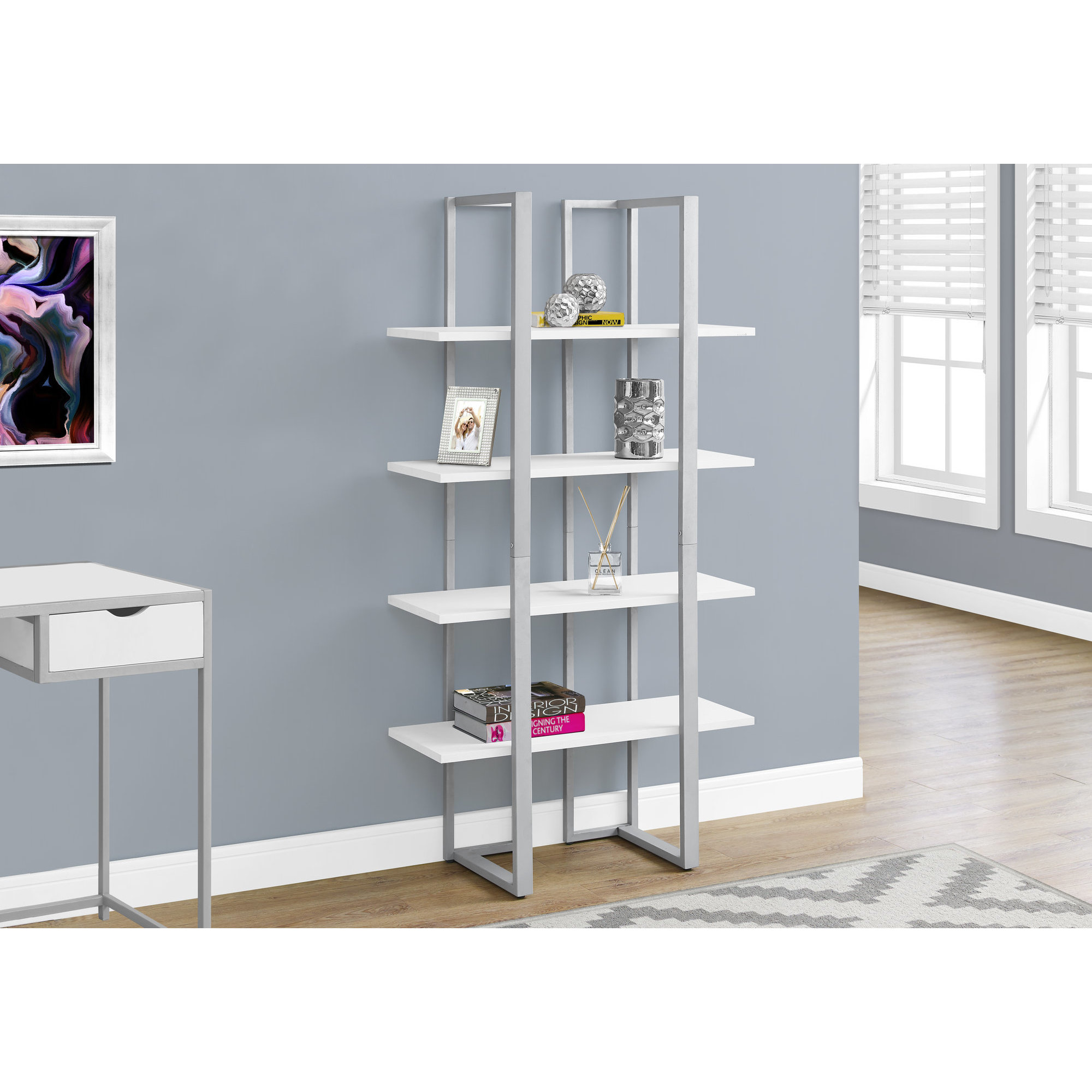 White And Silver Metal 4 Tier Open Shelf Bookcase Free Shipping Today 16635048