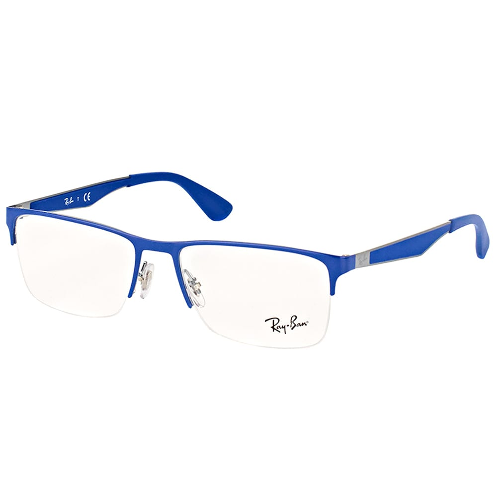 d528a0d14b3 Shop Ray-Ban RX 6335 2889 Gunmetal on Top Electric Blue Metal Semi-rimless  56-millimeter Eyeglasses - Ships To Canada - Overstock.ca - 16636697