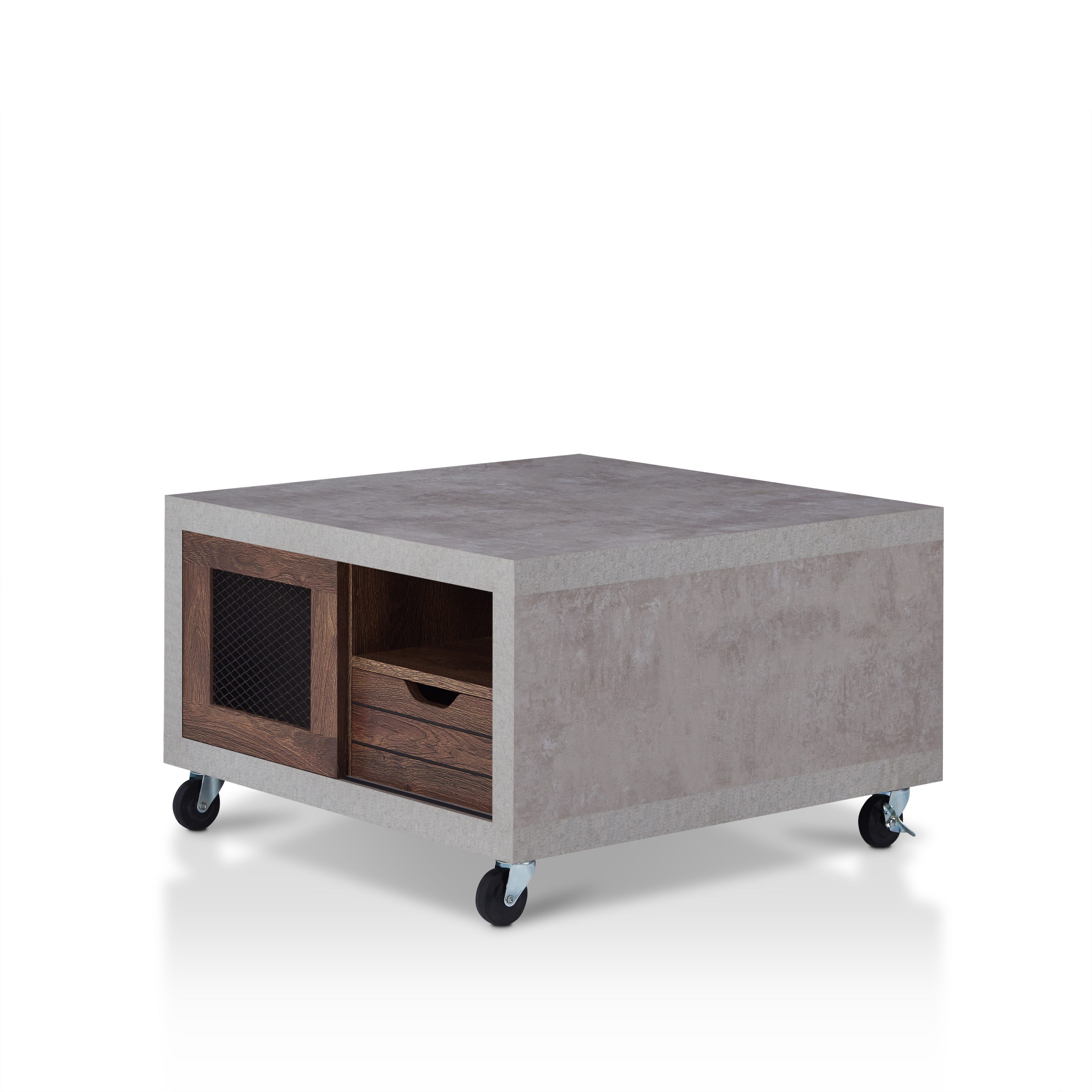 Furniture Of America Clayton Industrial Cement Like Multi Storage Coffee  Table   Free Shipping Today   Overstock.com   22961150