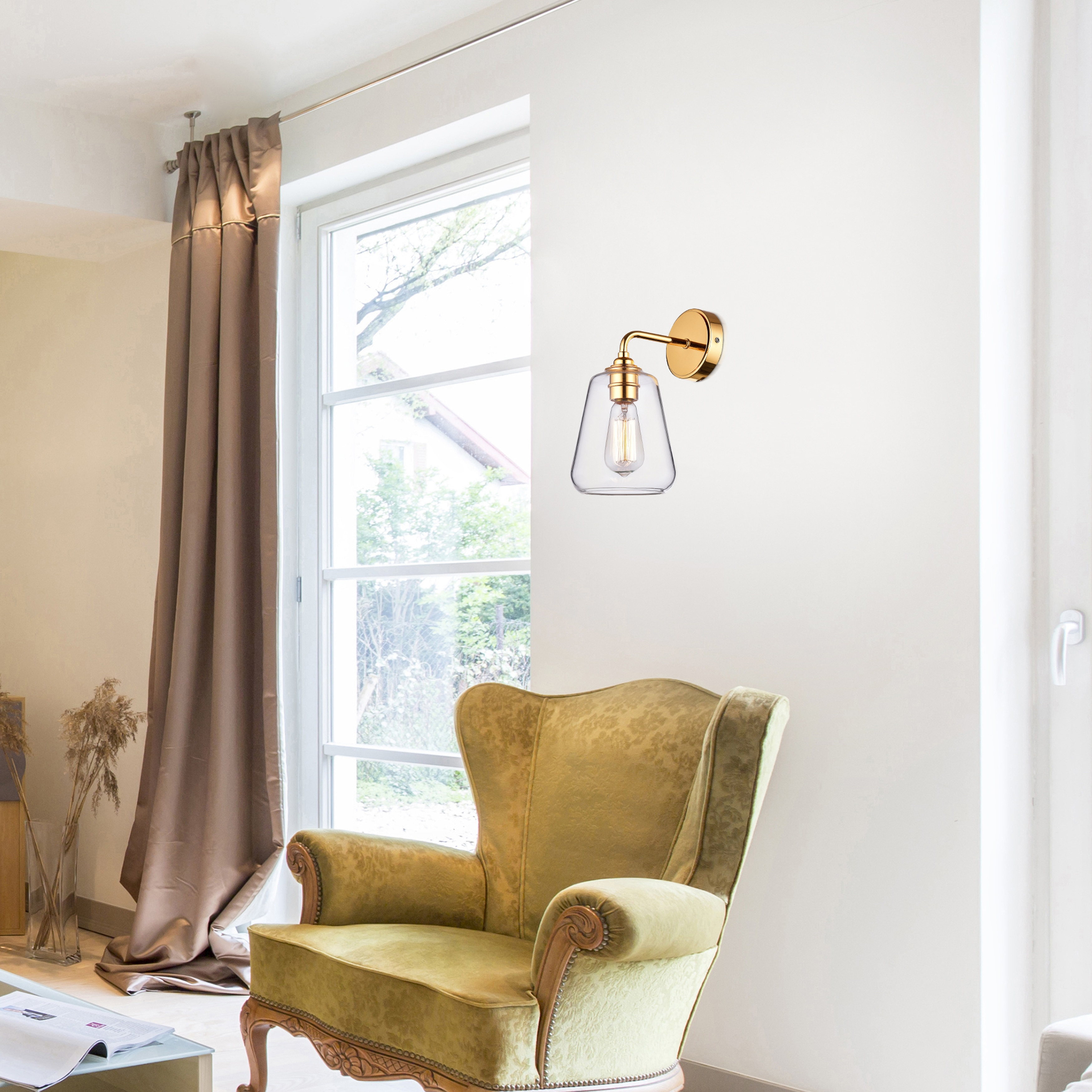 Anastasia Shiny Gold Finish Iron Wall Sconce with Clear Glass Shade ...