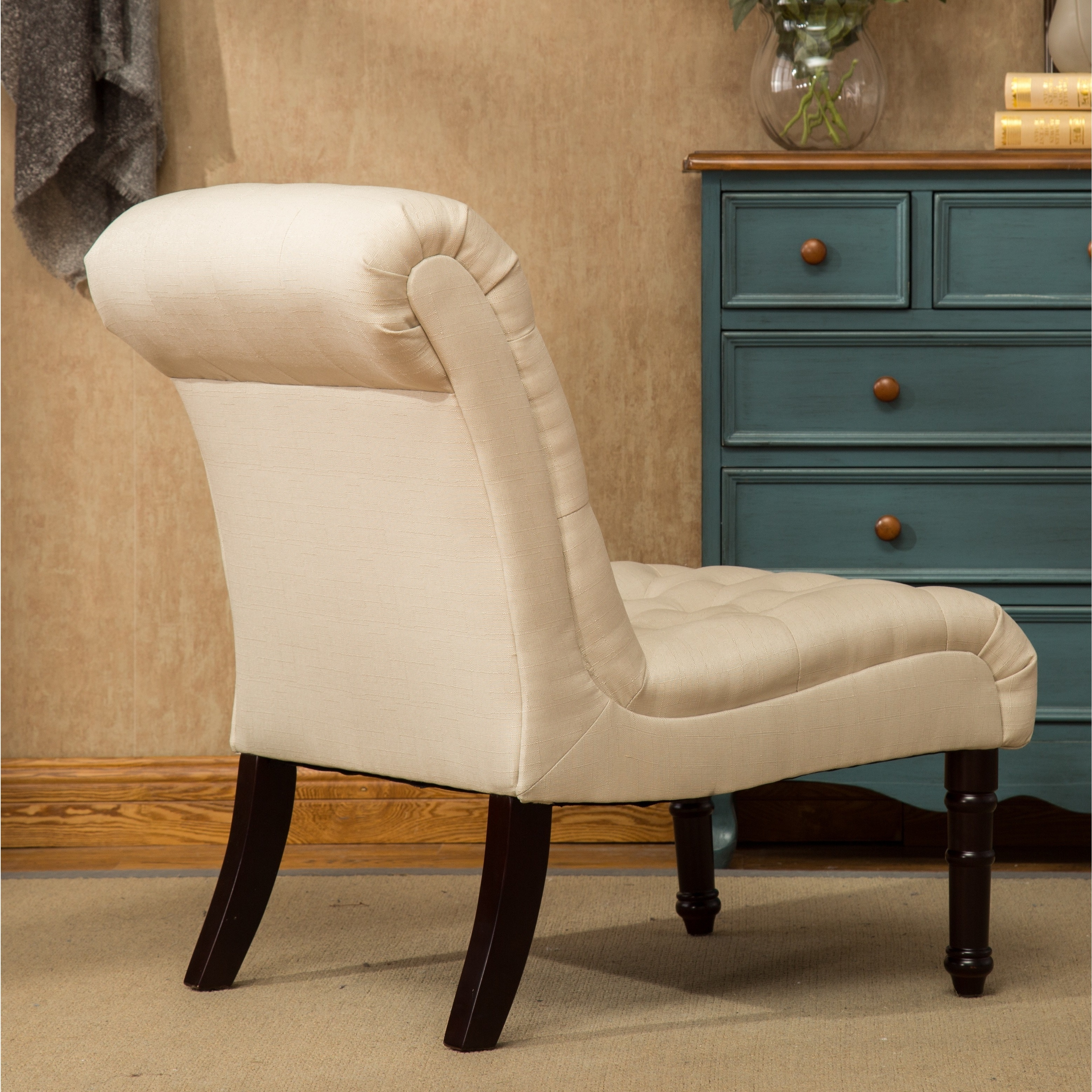 Shop Rouen Grey Fabric Button Tufted Armless Slipper Chair   Free Shipping  Today   Overstock.com   16645788